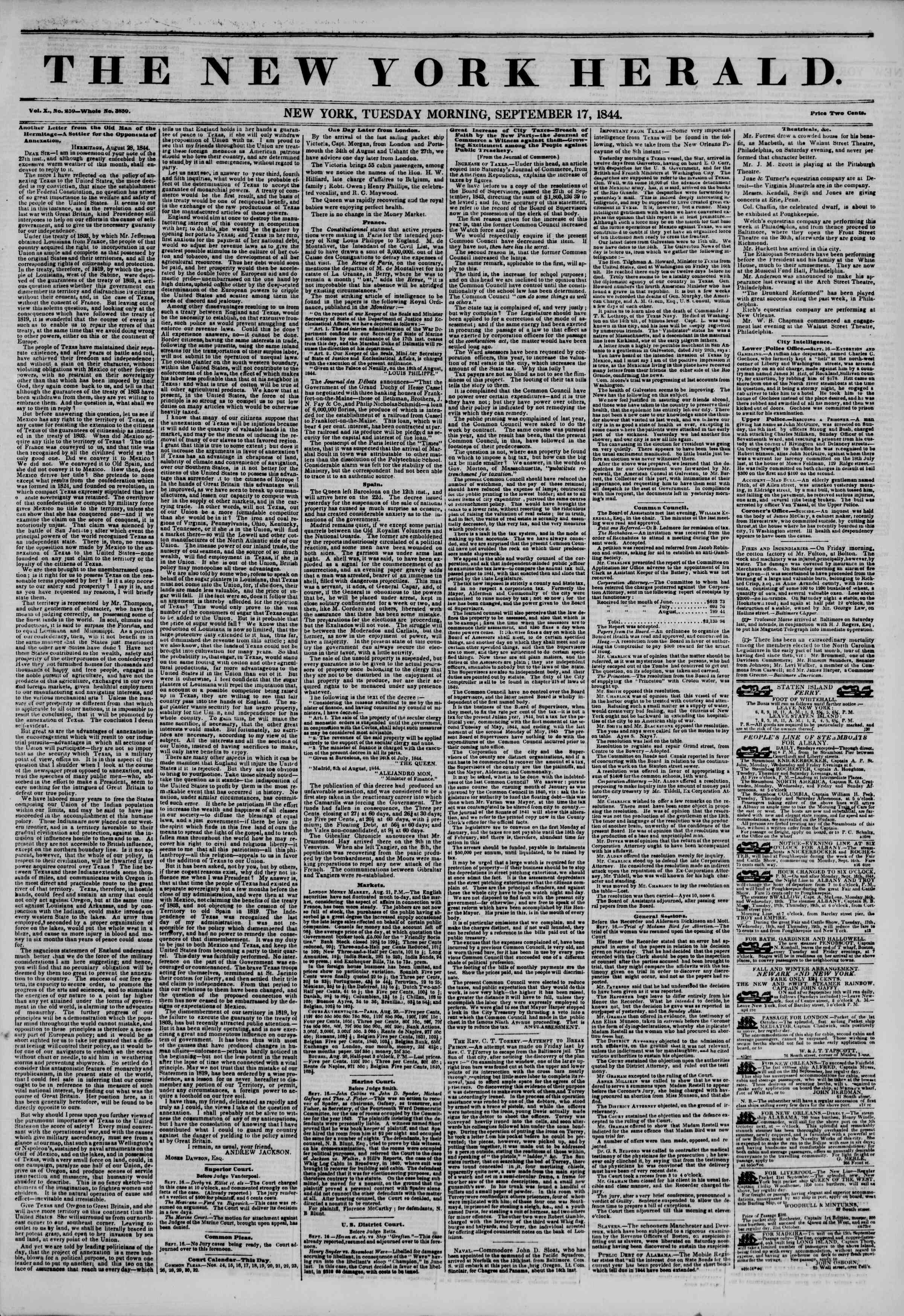 Newspaper of The New York Herald dated September 17, 1844 Page 1