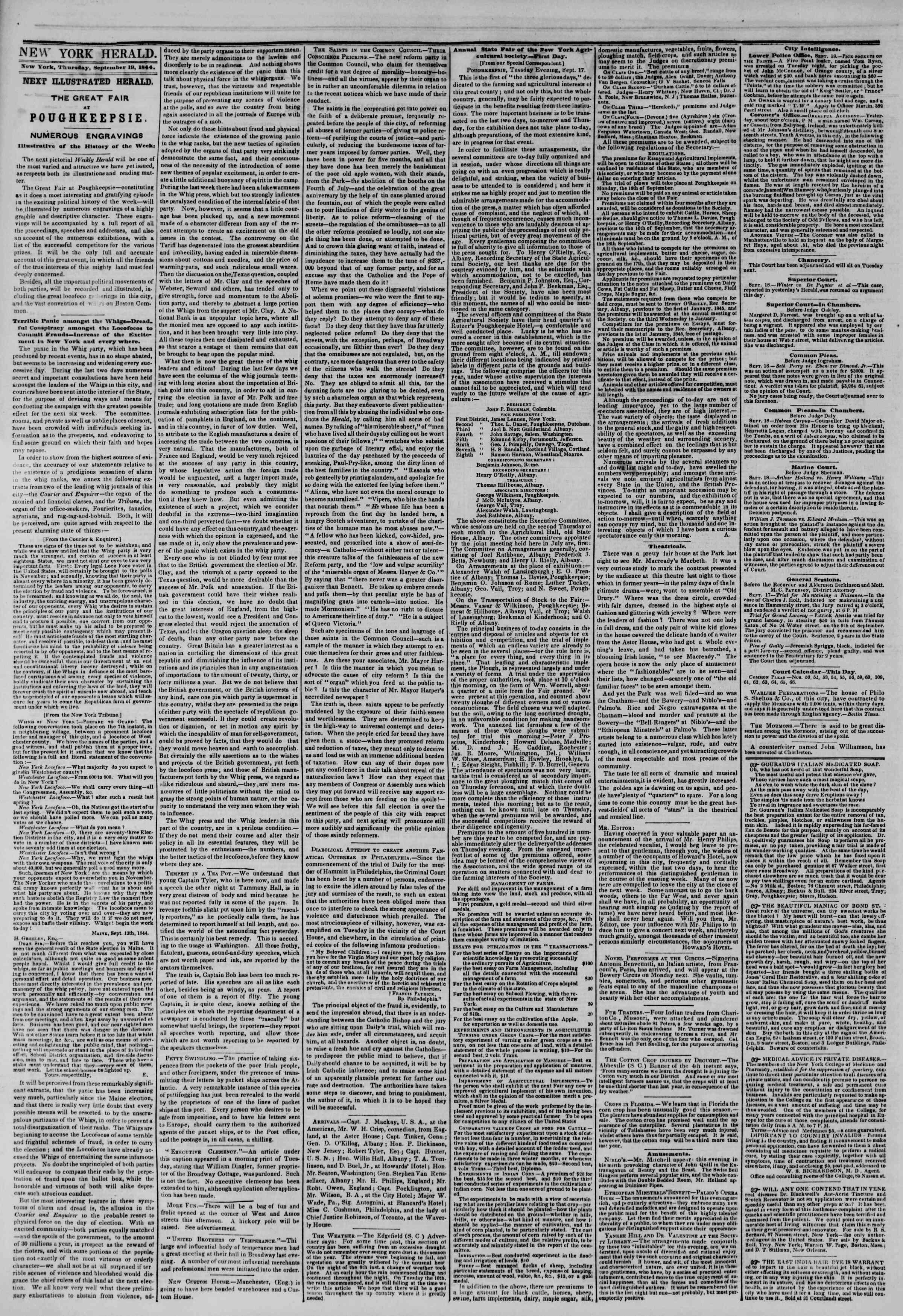 19 Eylül 1844 Tarihli The New York Herald Gazetesi Sayfa 2