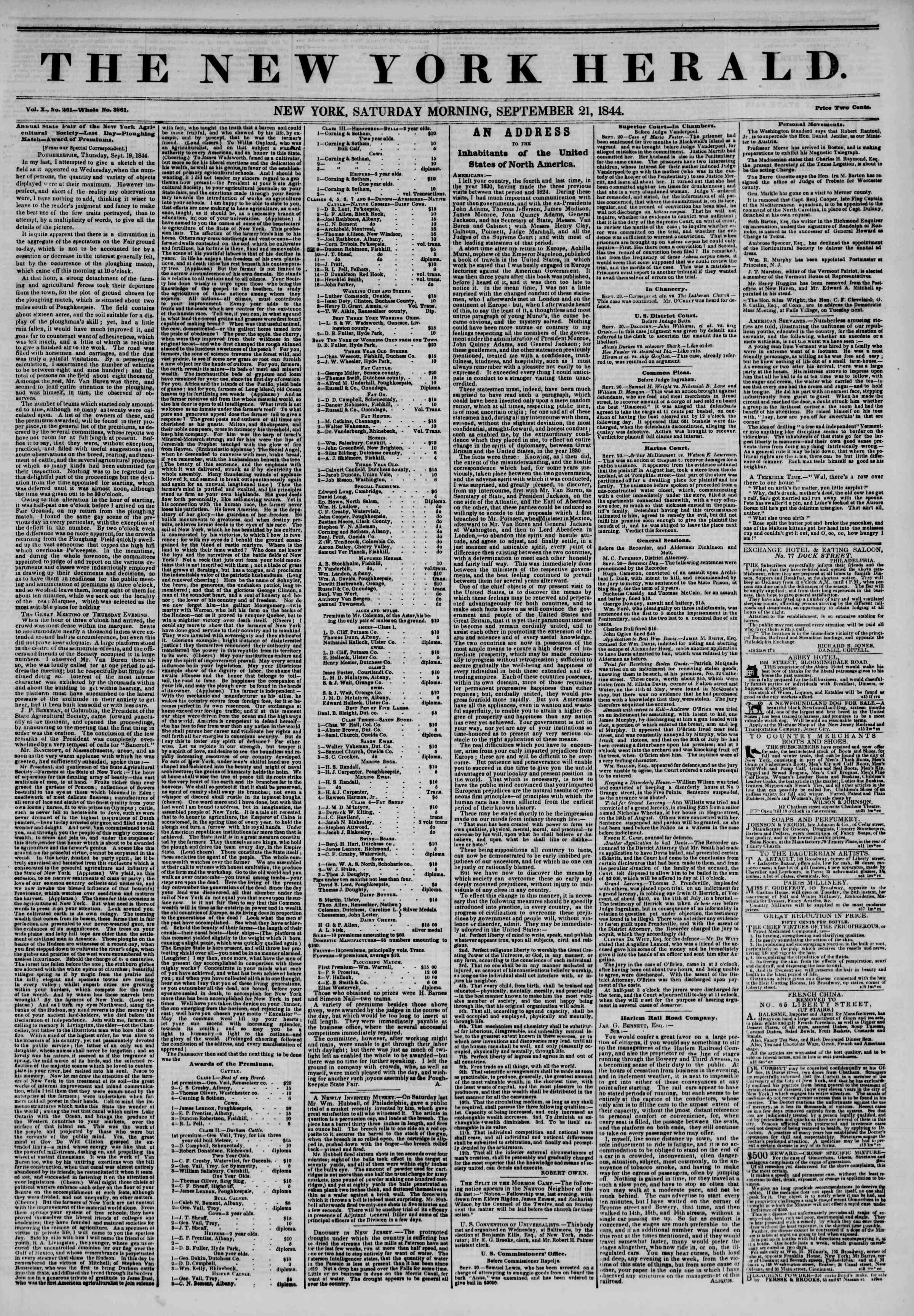 September 21, 1844 Tarihli The New York Herald Gazetesi Sayfa 1