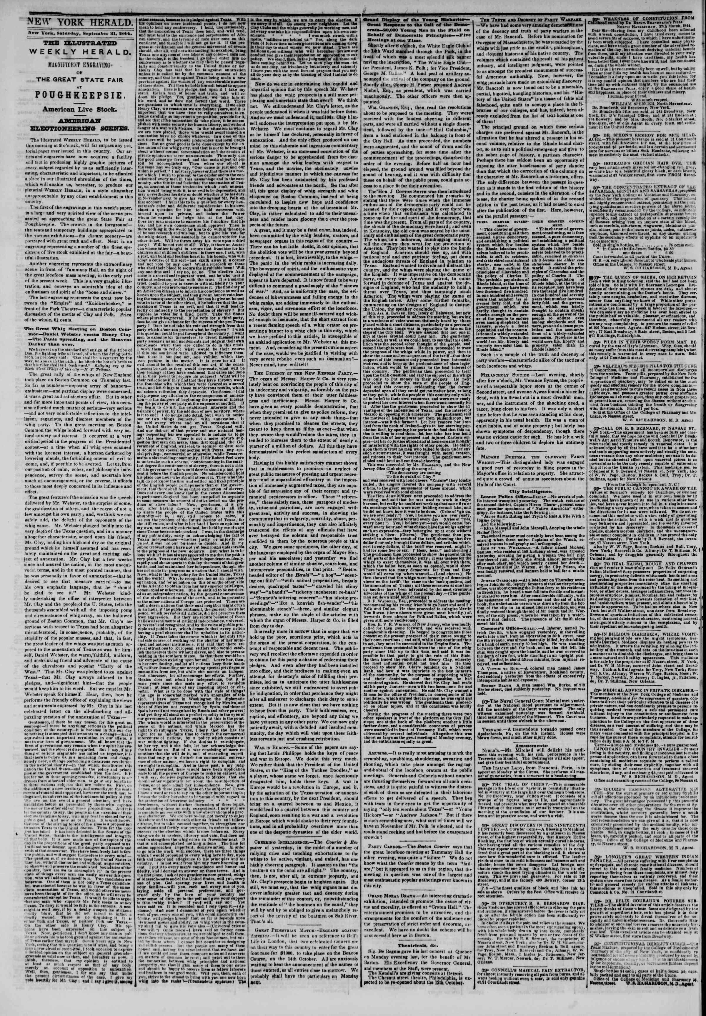 21 Eylül 1844 Tarihli The New York Herald Gazetesi Sayfa 2