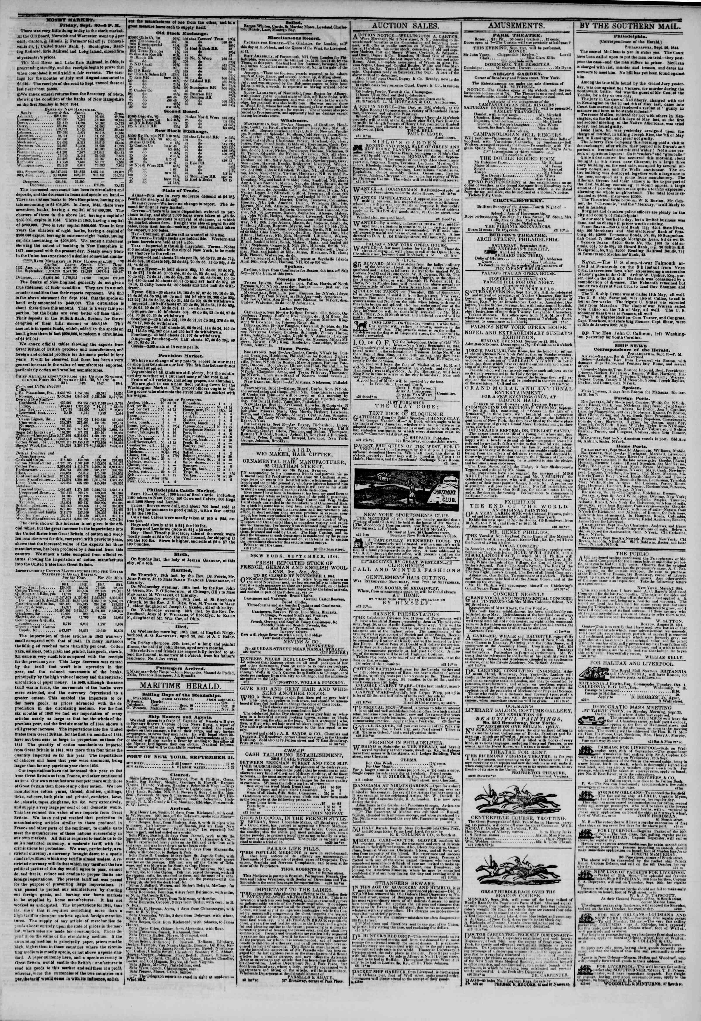 21 Eylül 1844 tarihli The New York Herald Gazetesi Sayfa 3