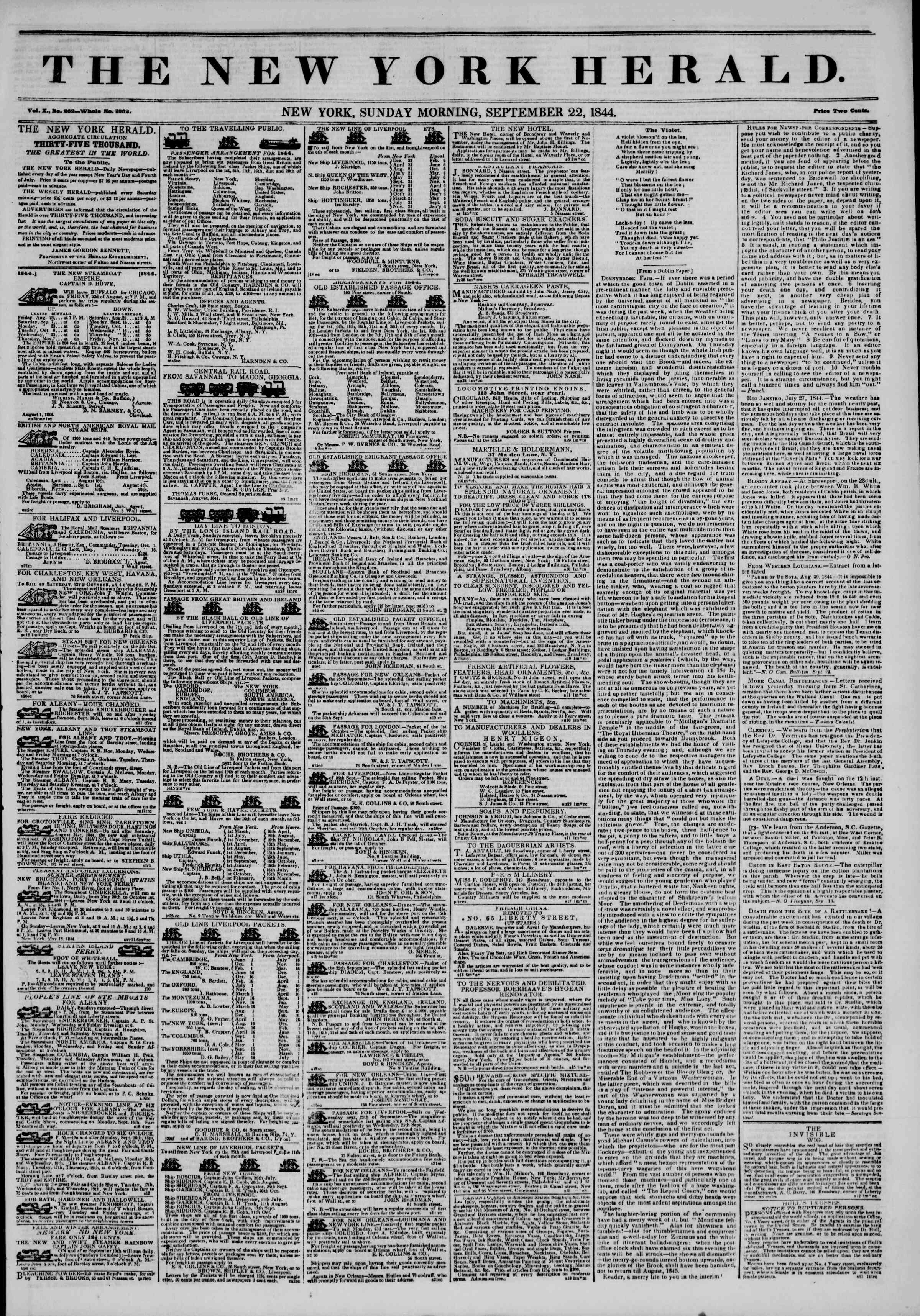 Newspaper of The New York Herald dated September 22, 1844 Page 1
