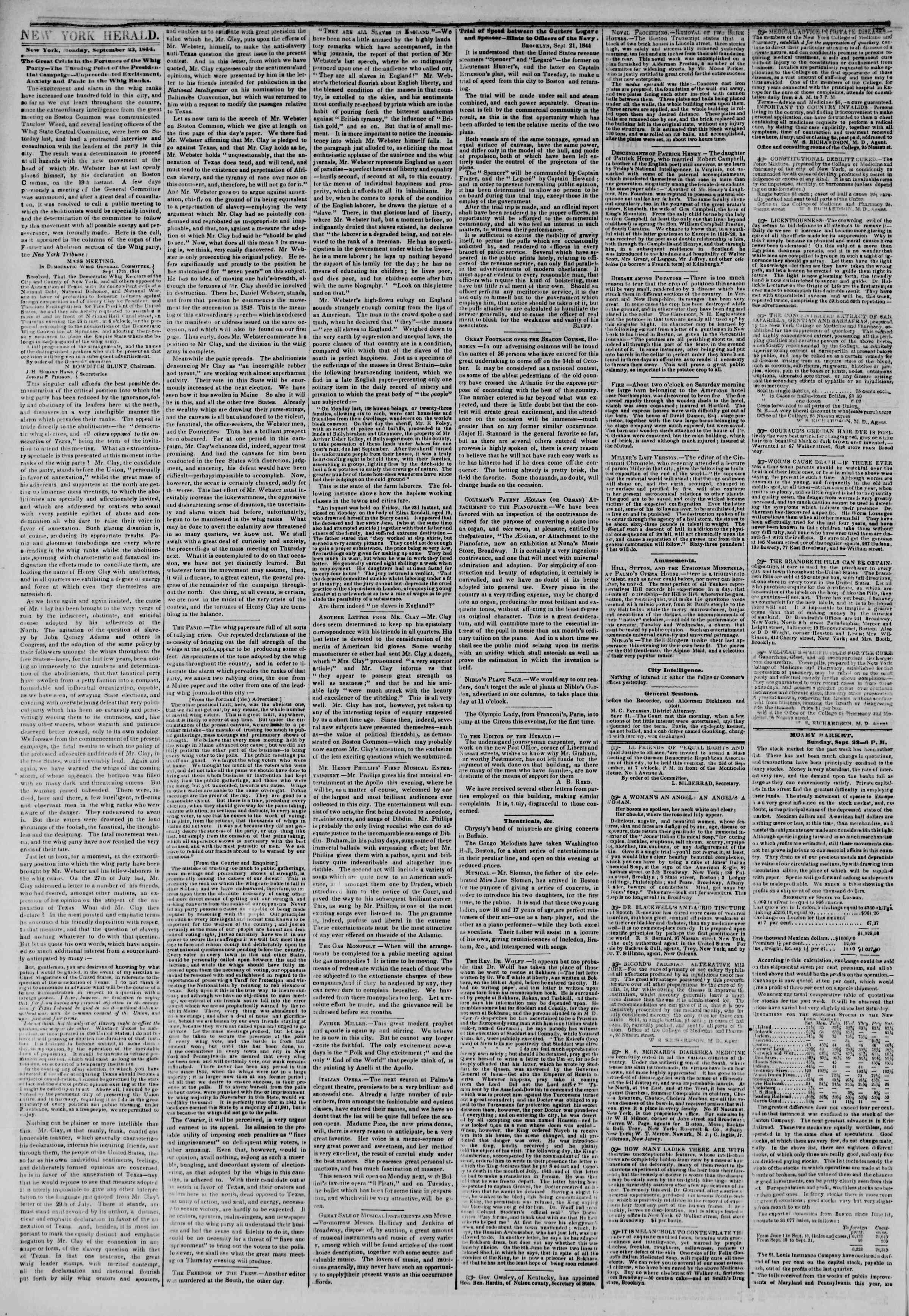 September 23, 1844 Tarihli The New York Herald Gazetesi Sayfa 2