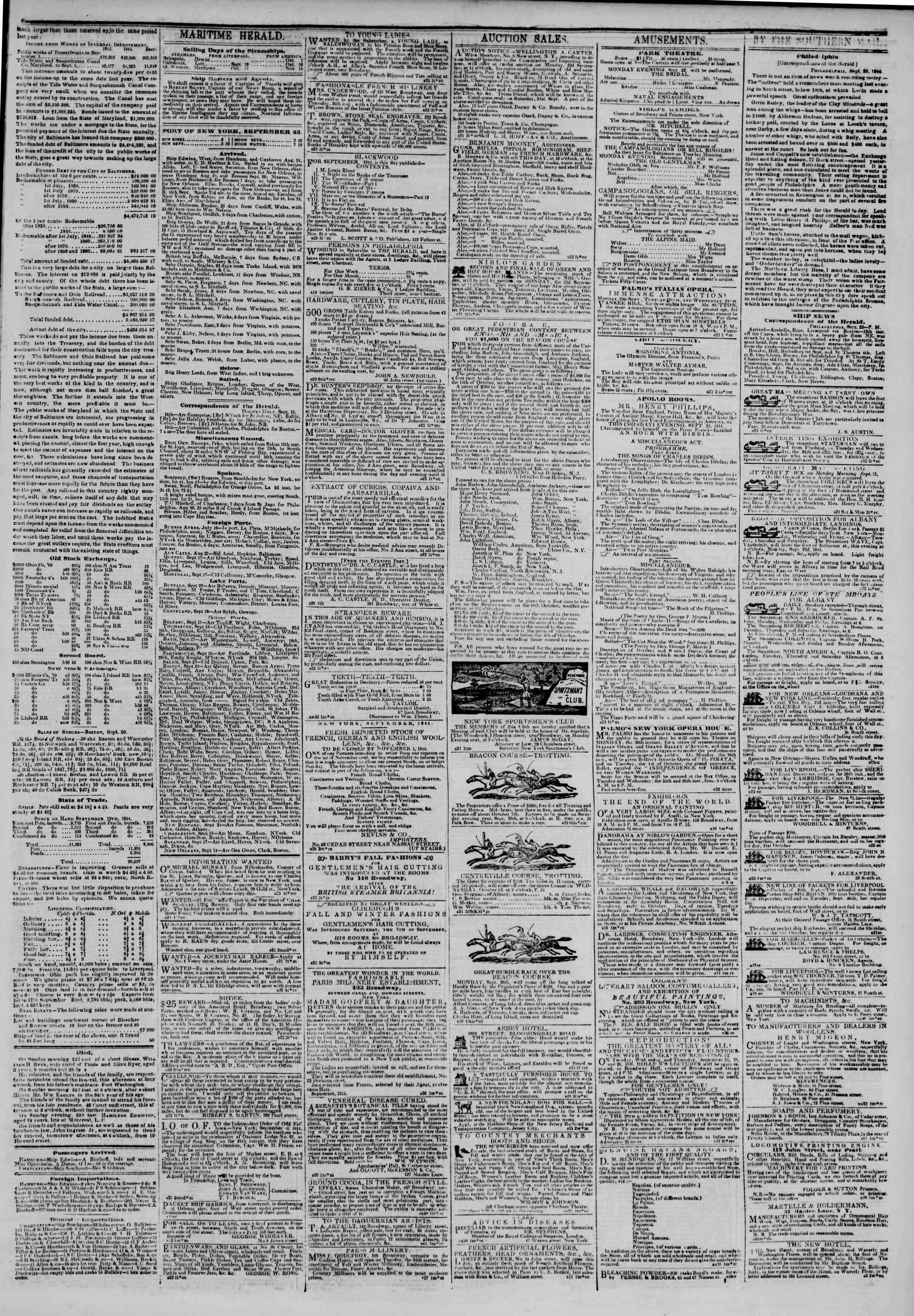 September 23, 1844 Tarihli The New York Herald Gazetesi Sayfa 3