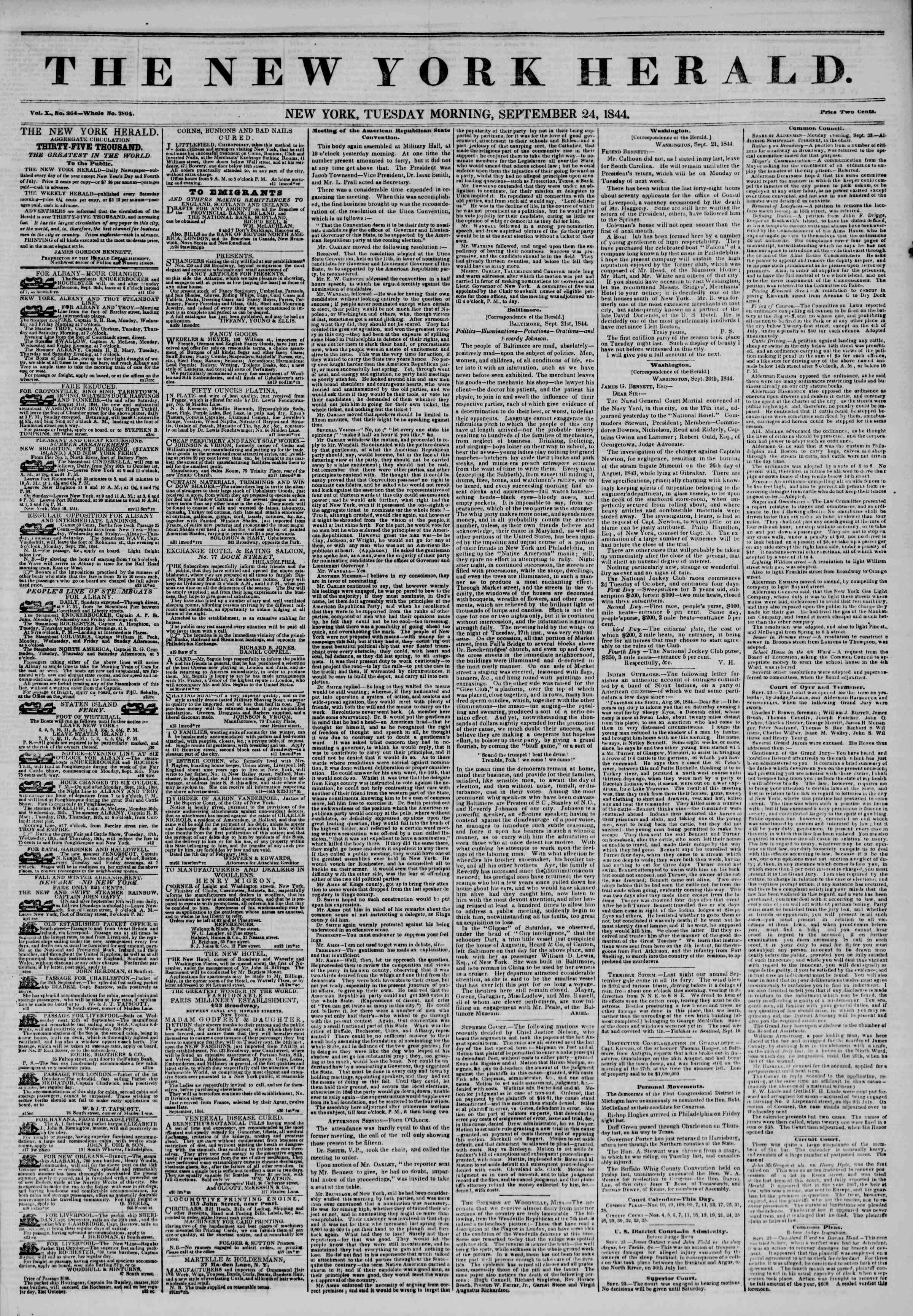 Newspaper of The New York Herald dated September 24, 1844 Page 1