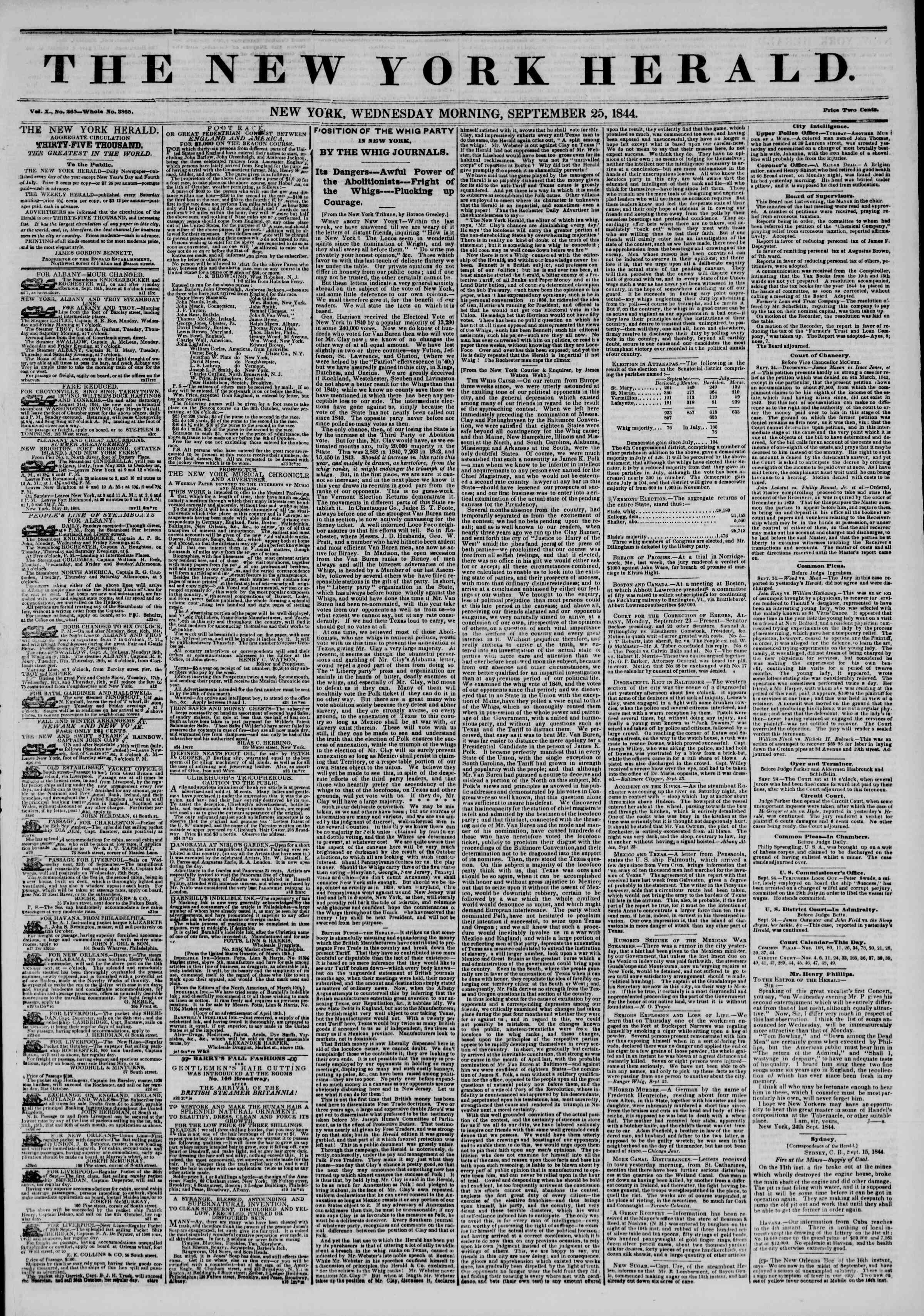 Newspaper of The New York Herald dated September 25, 1844 Page 1