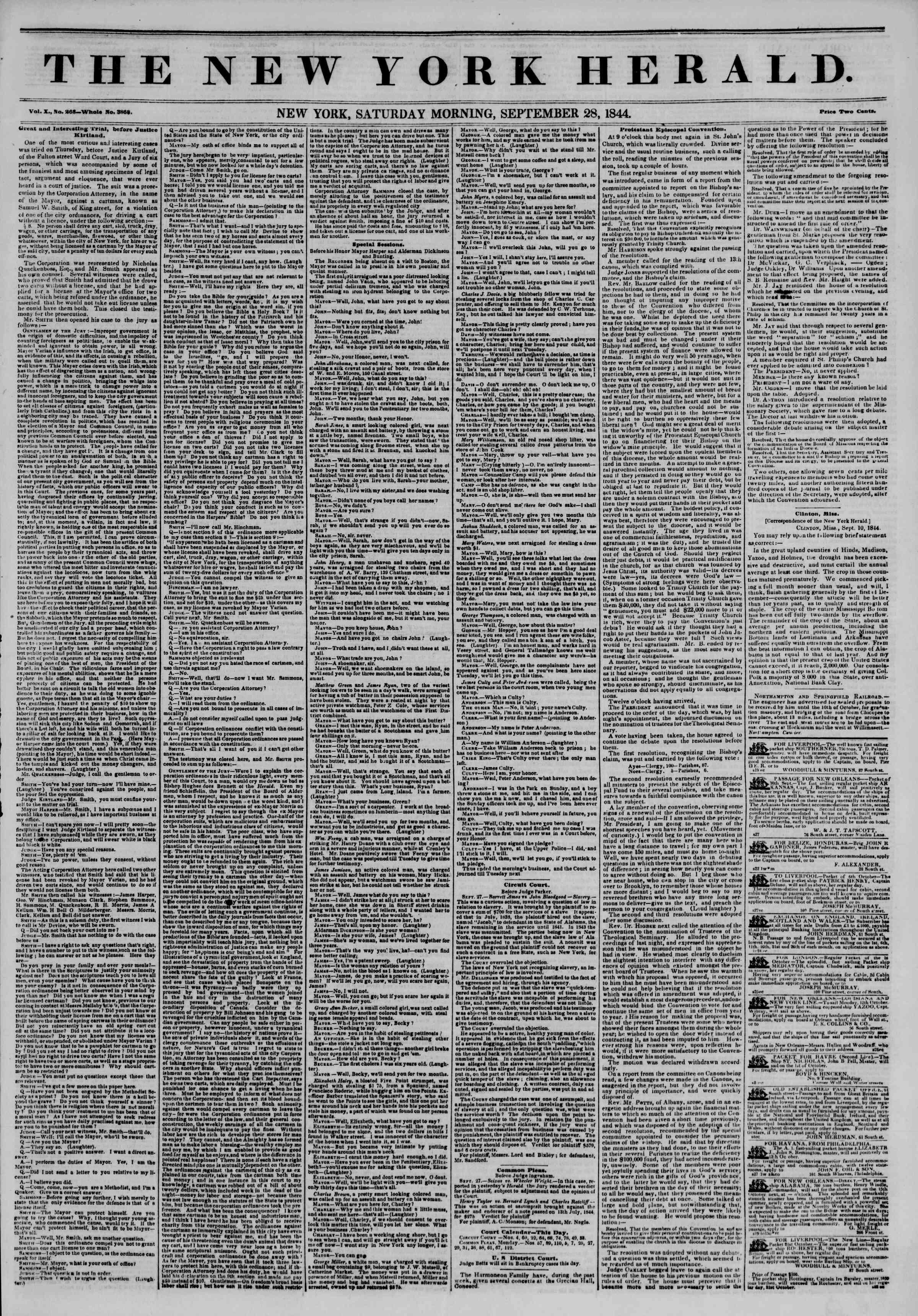 September 28, 1844 Tarihli The New York Herald Gazetesi Sayfa 1