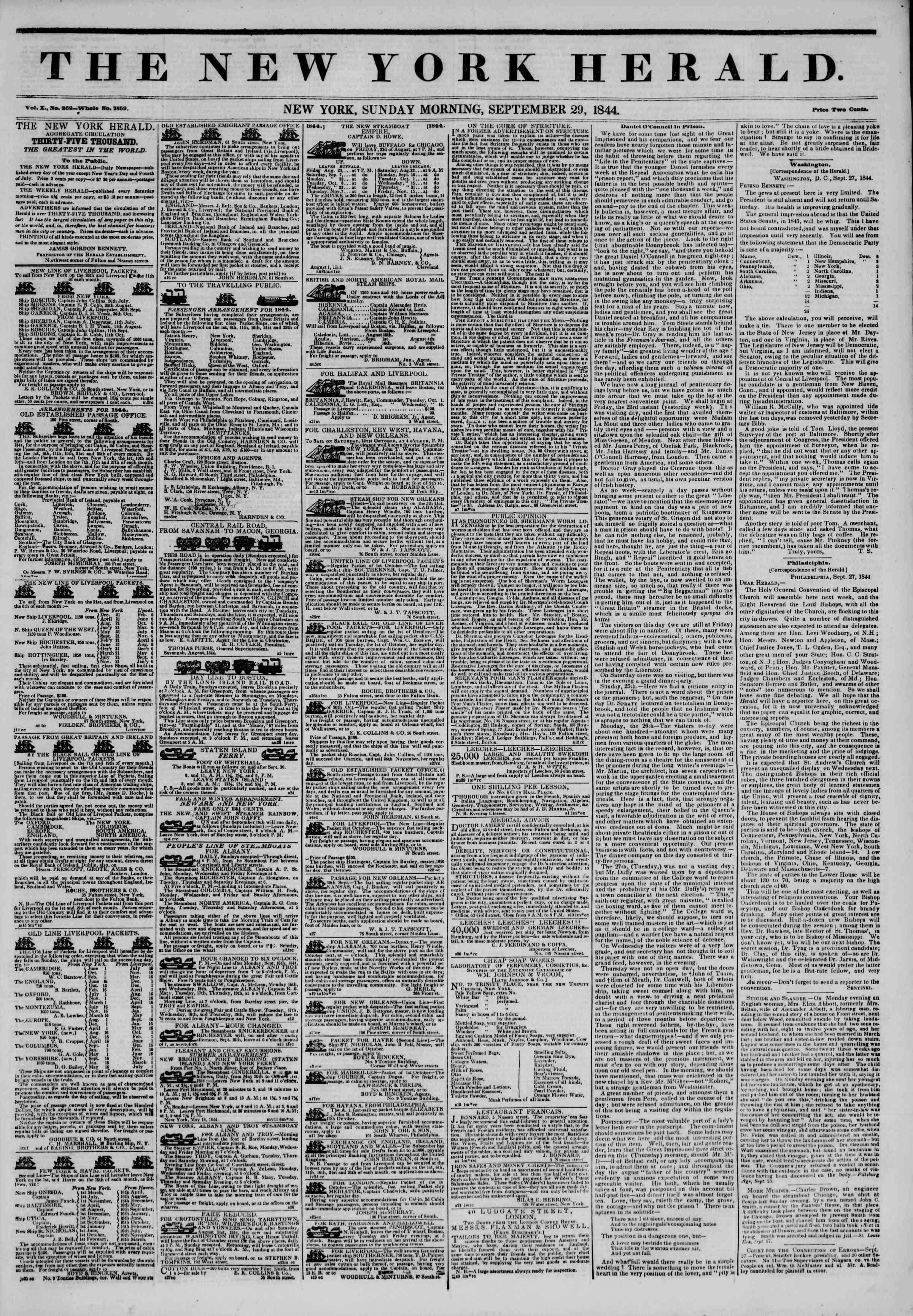 Newspaper of The New York Herald dated September 29, 1844 Page 1