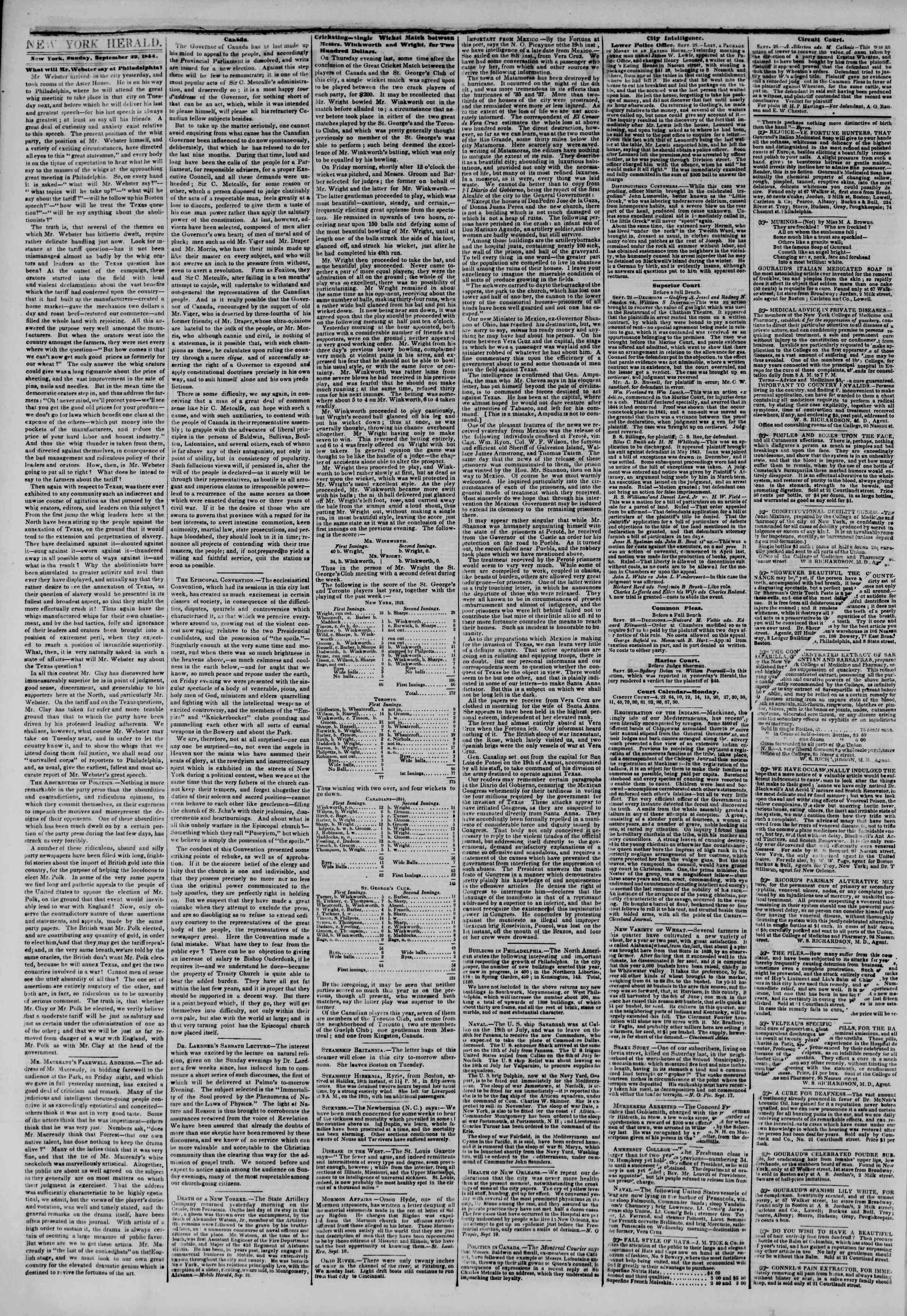 Newspaper of The New York Herald dated September 29, 1844 Page 2