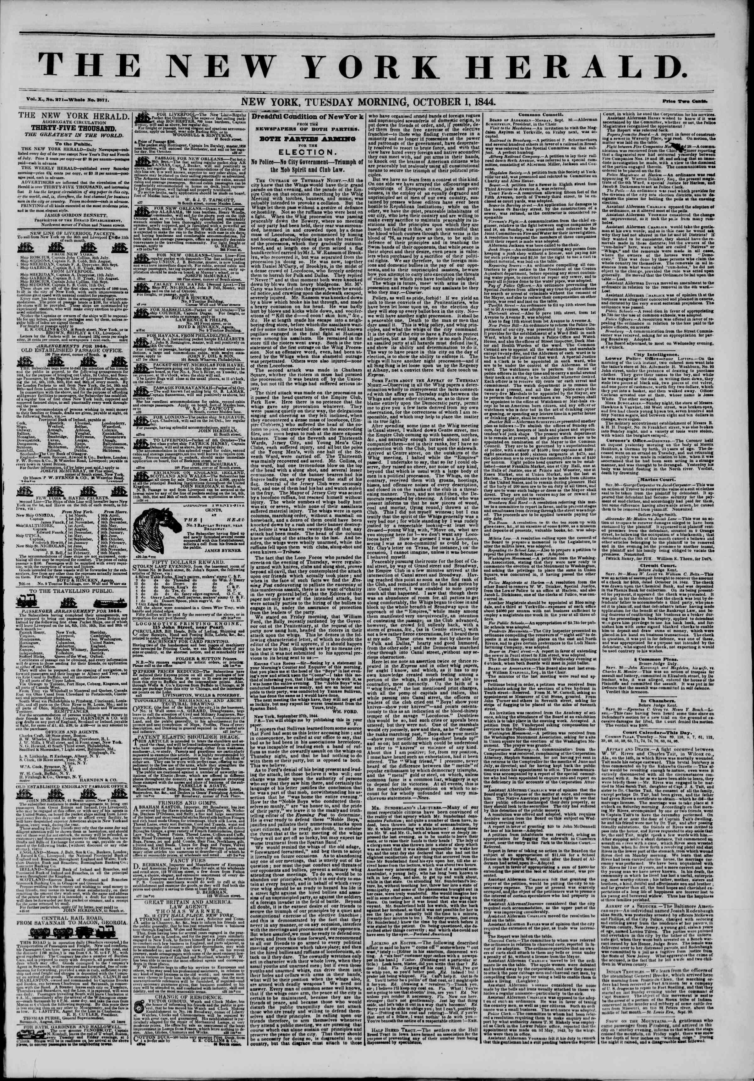 October 1, 1844 Tarihli The New York Herald Gazetesi Sayfa 1