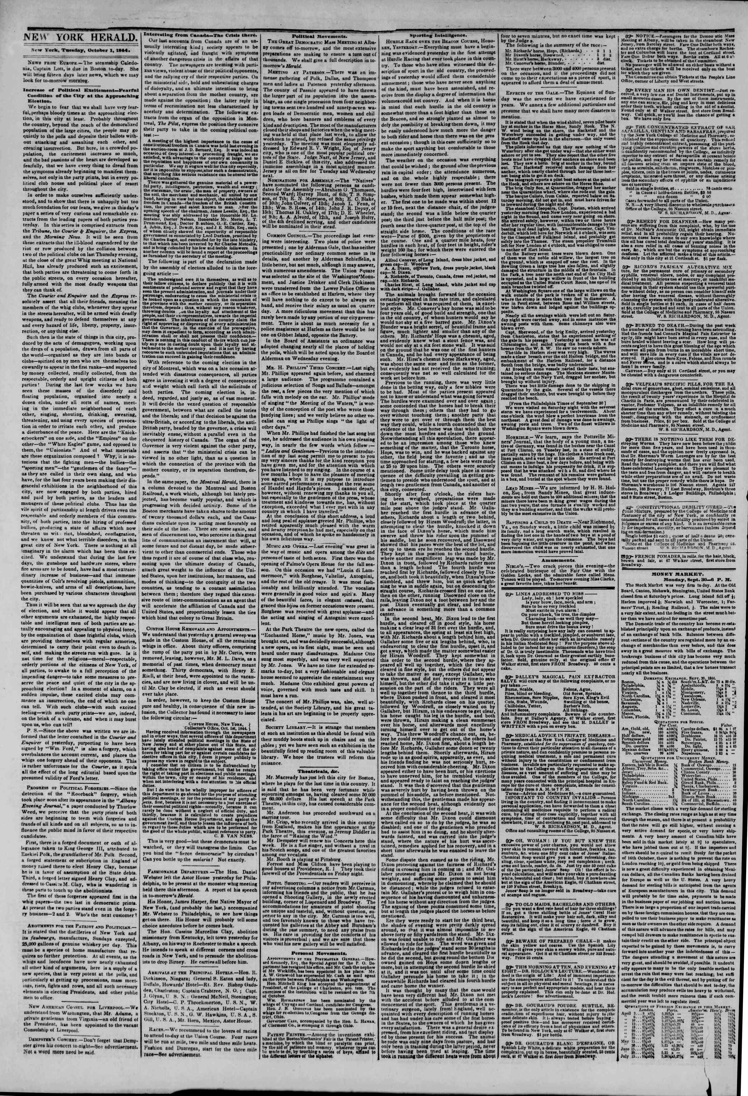 Newspaper of The New York Herald dated October 1, 1844 Page 2