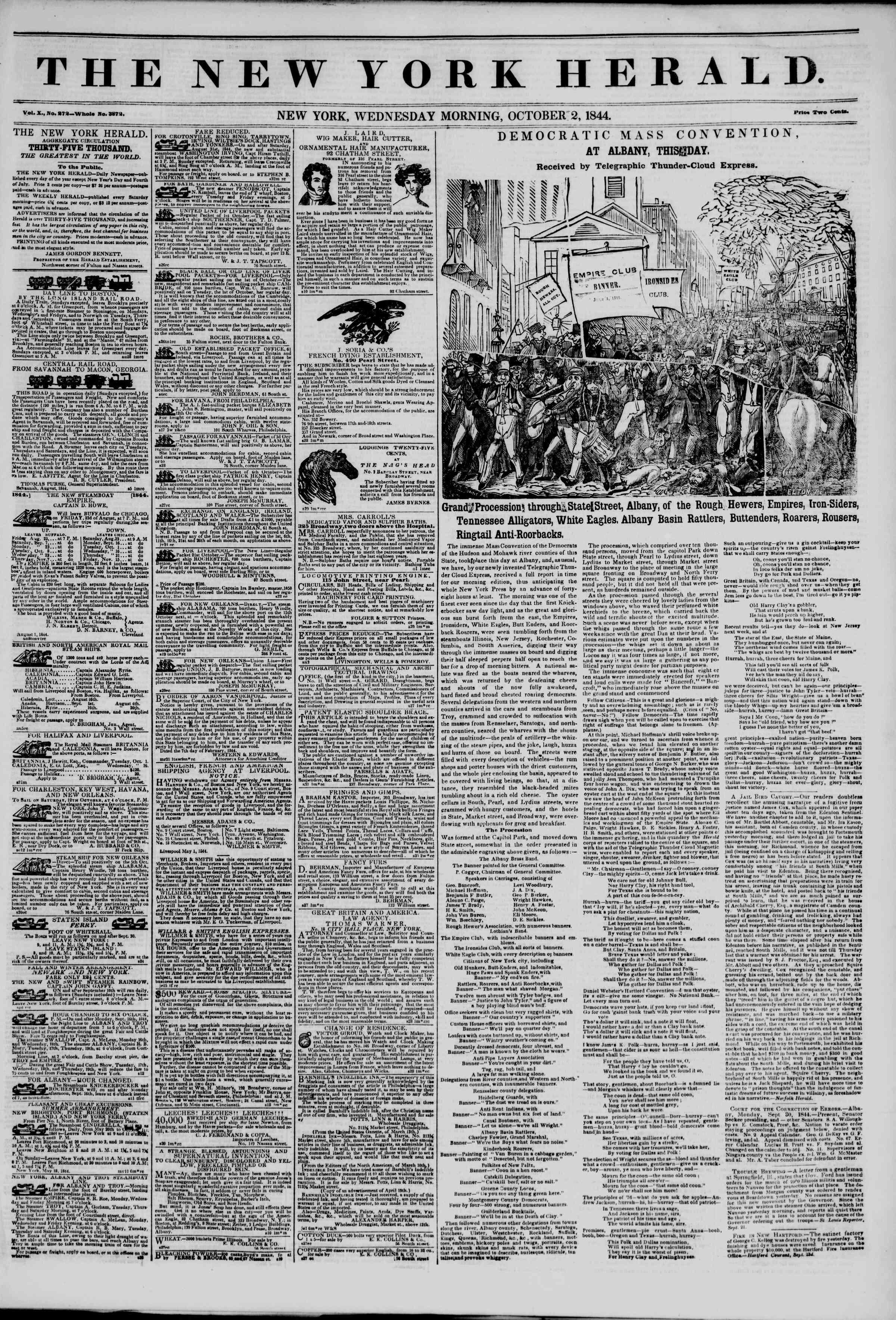 October 2, 1844 Tarihli The New York Herald Gazetesi Sayfa 1