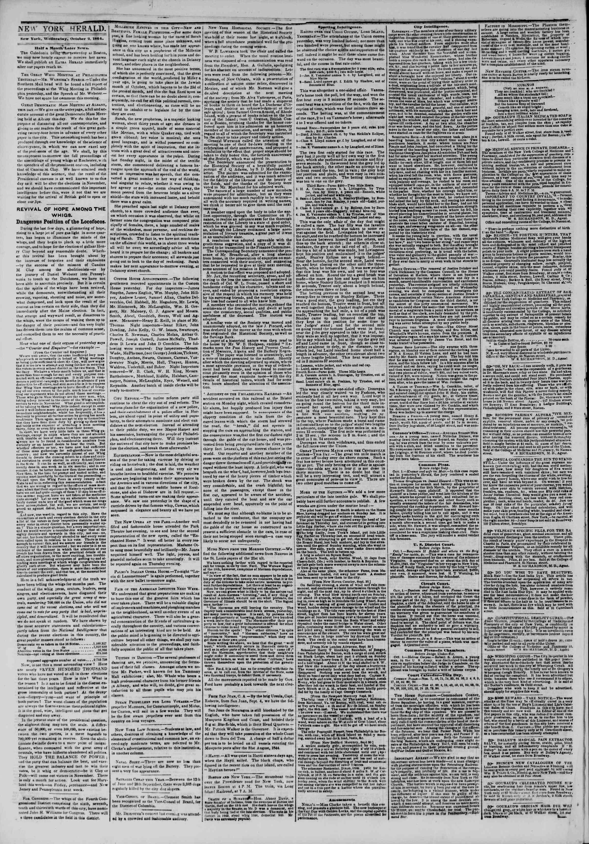 October 2, 1844 Tarihli The New York Herald Gazetesi Sayfa 2