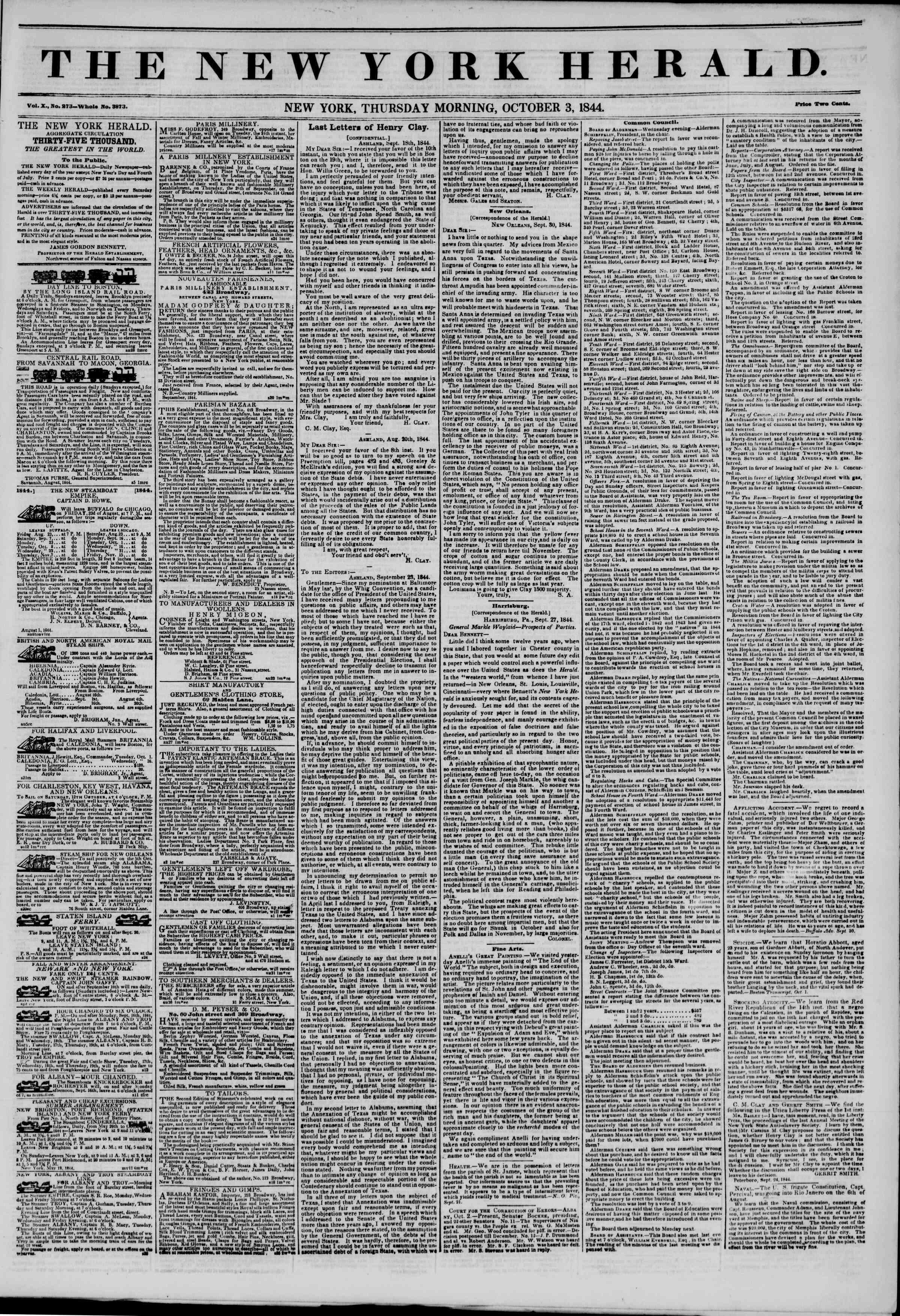 October 3, 1844 Tarihli The New York Herald Gazetesi Sayfa 1