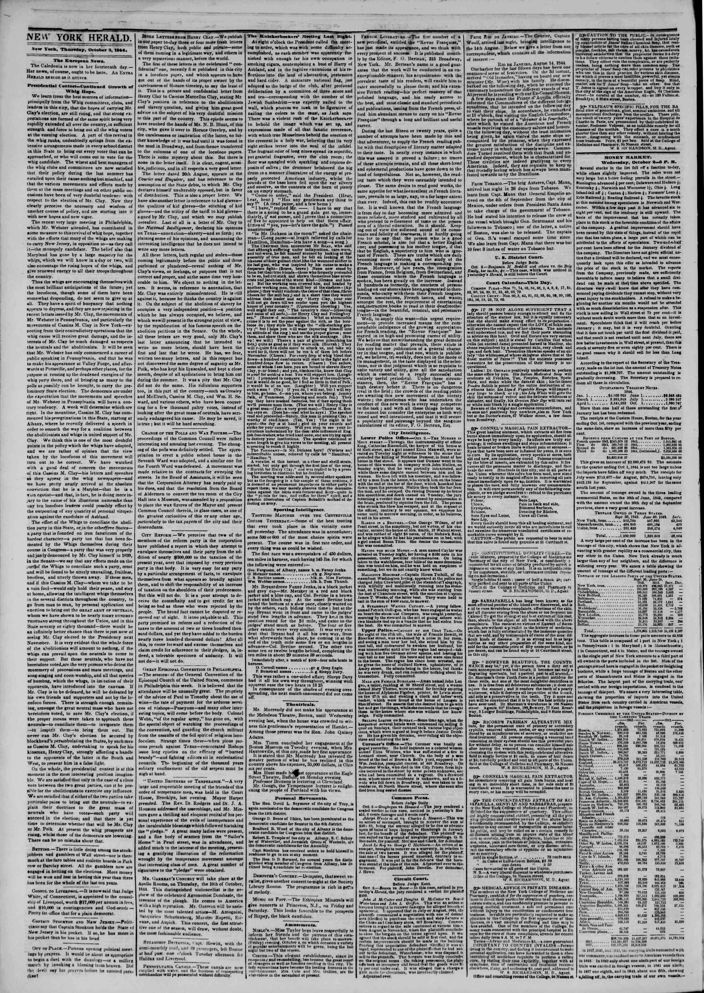 October 3, 1844 Tarihli The New York Herald Gazetesi Sayfa 2