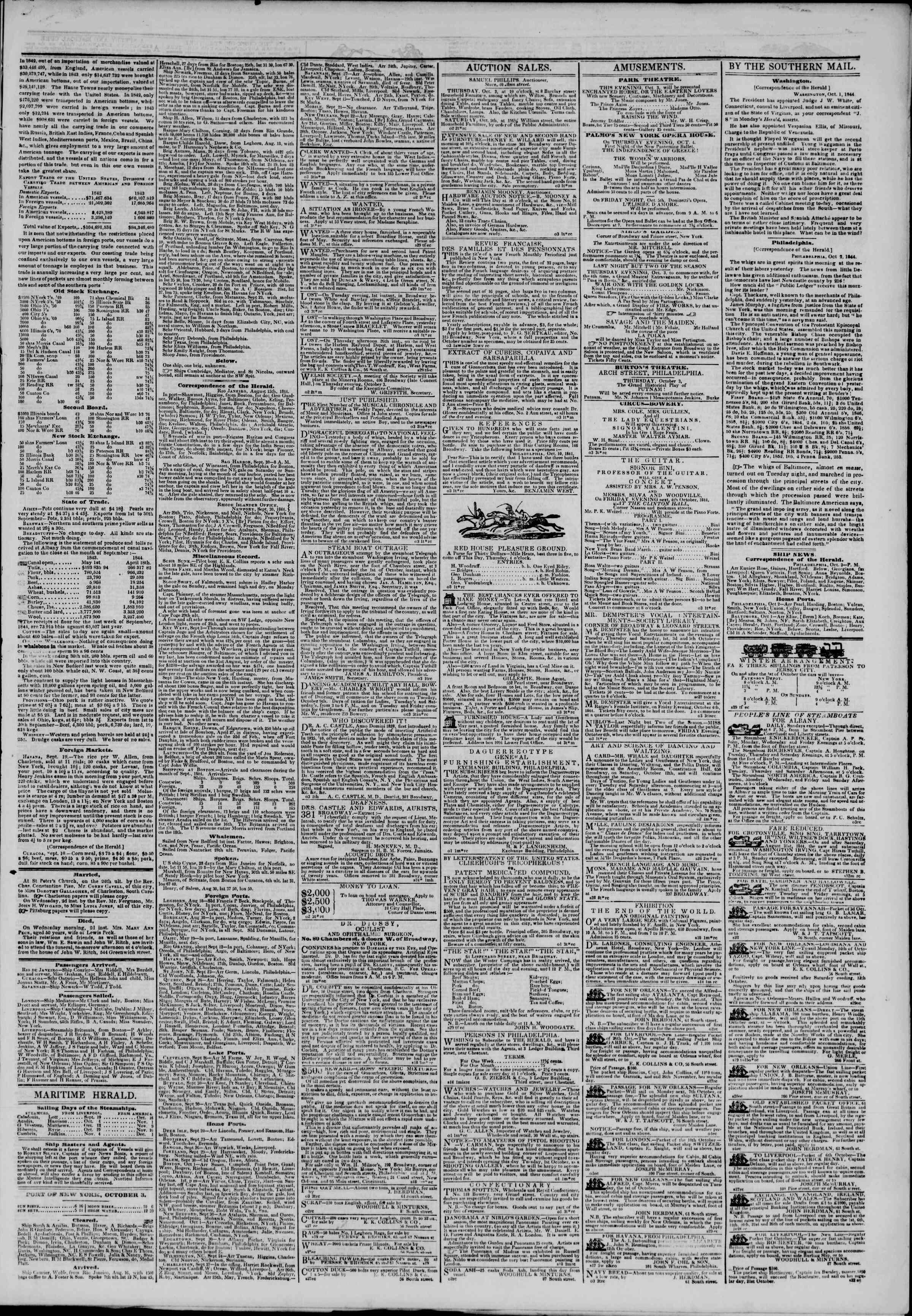 October 3, 1844 Tarihli The New York Herald Gazetesi Sayfa 3