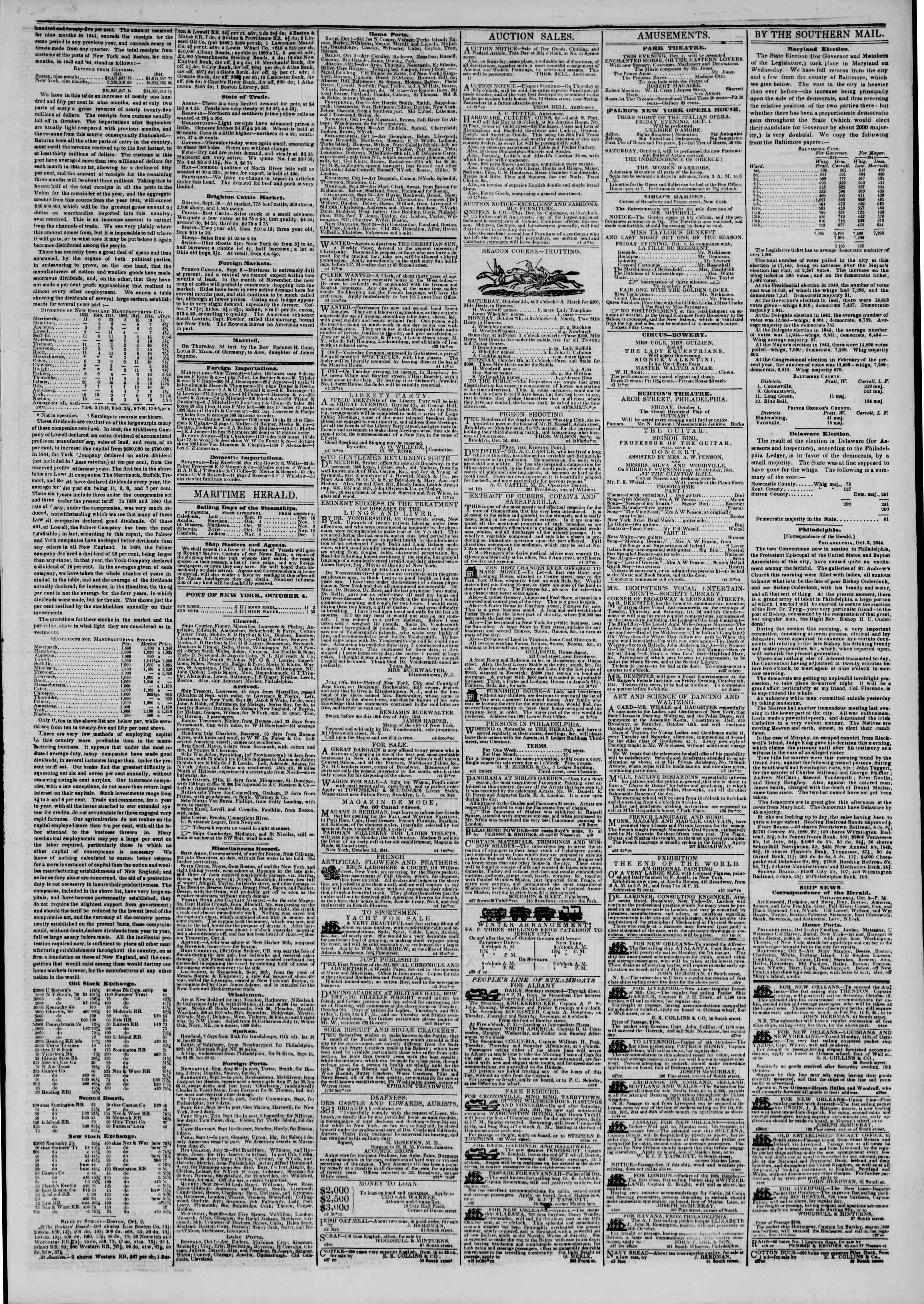 Newspaper of The New York Herald dated October 4, 1844 Page 3