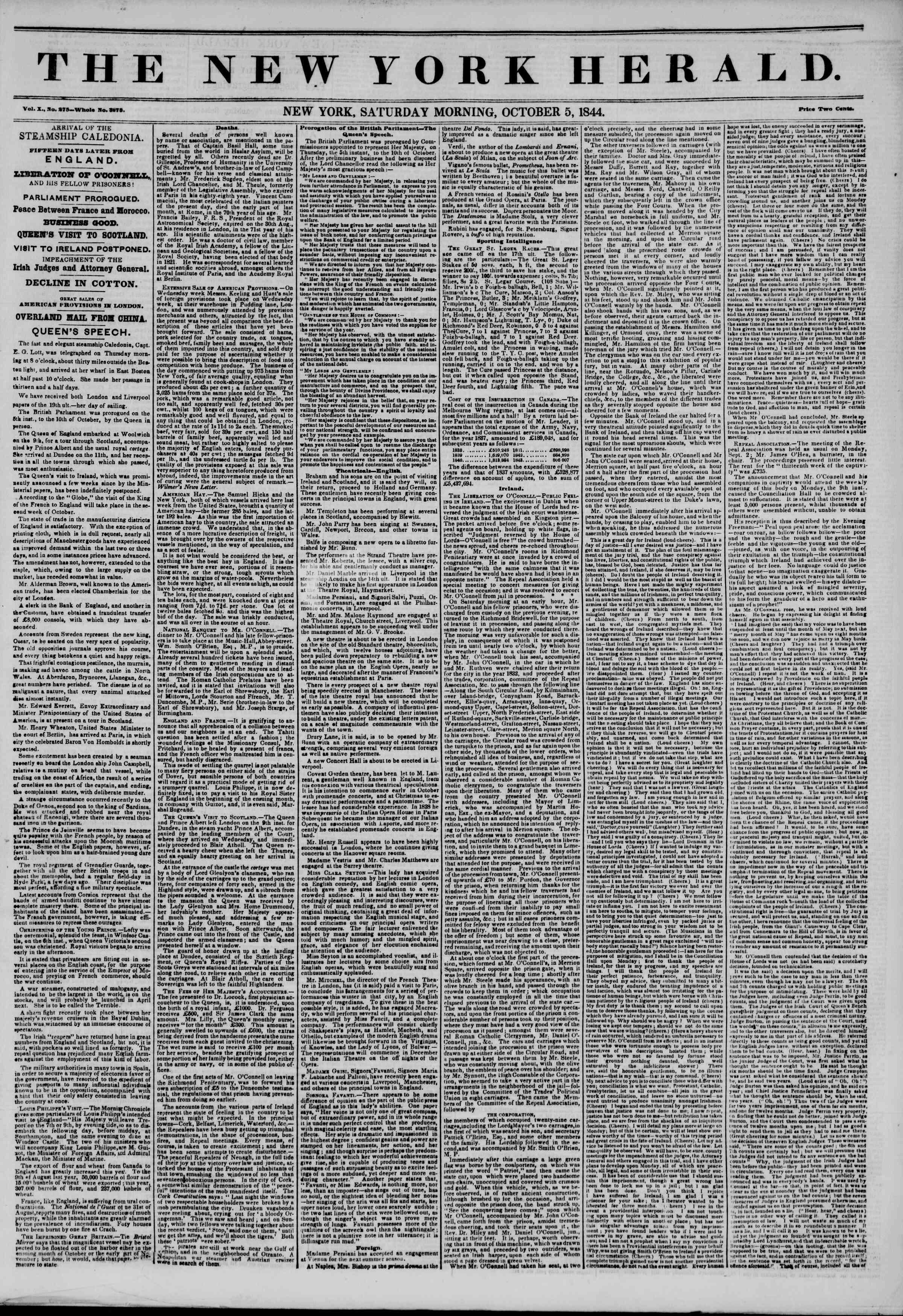 October 5, 1844 Tarihli The New York Herald Gazetesi Sayfa 1