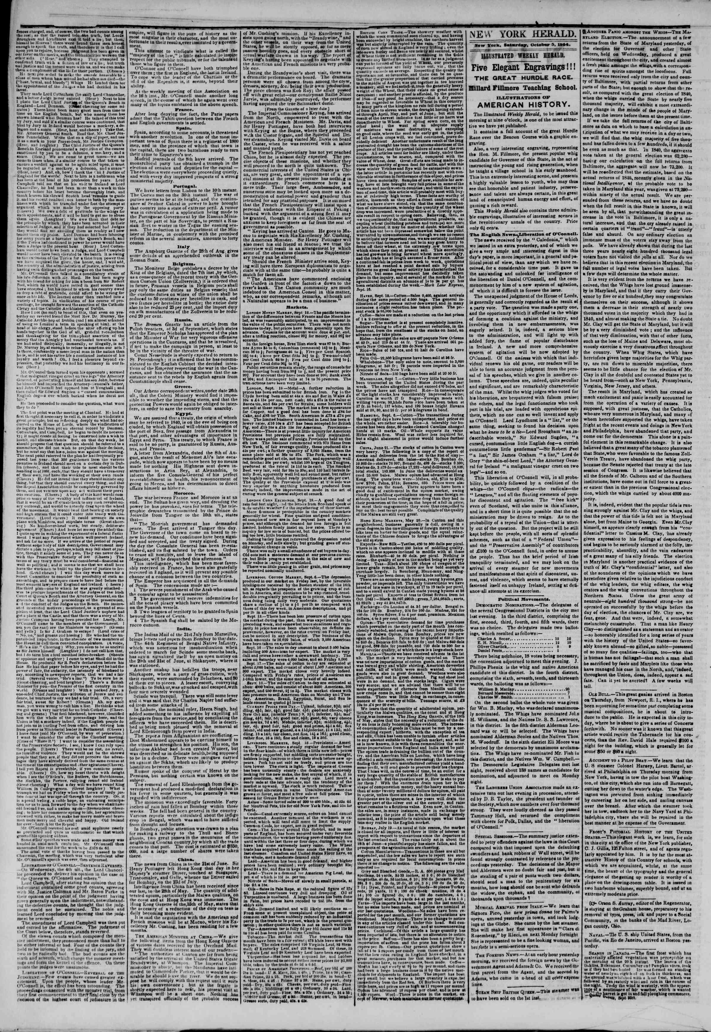 October 5, 1844 Tarihli The New York Herald Gazetesi Sayfa 2