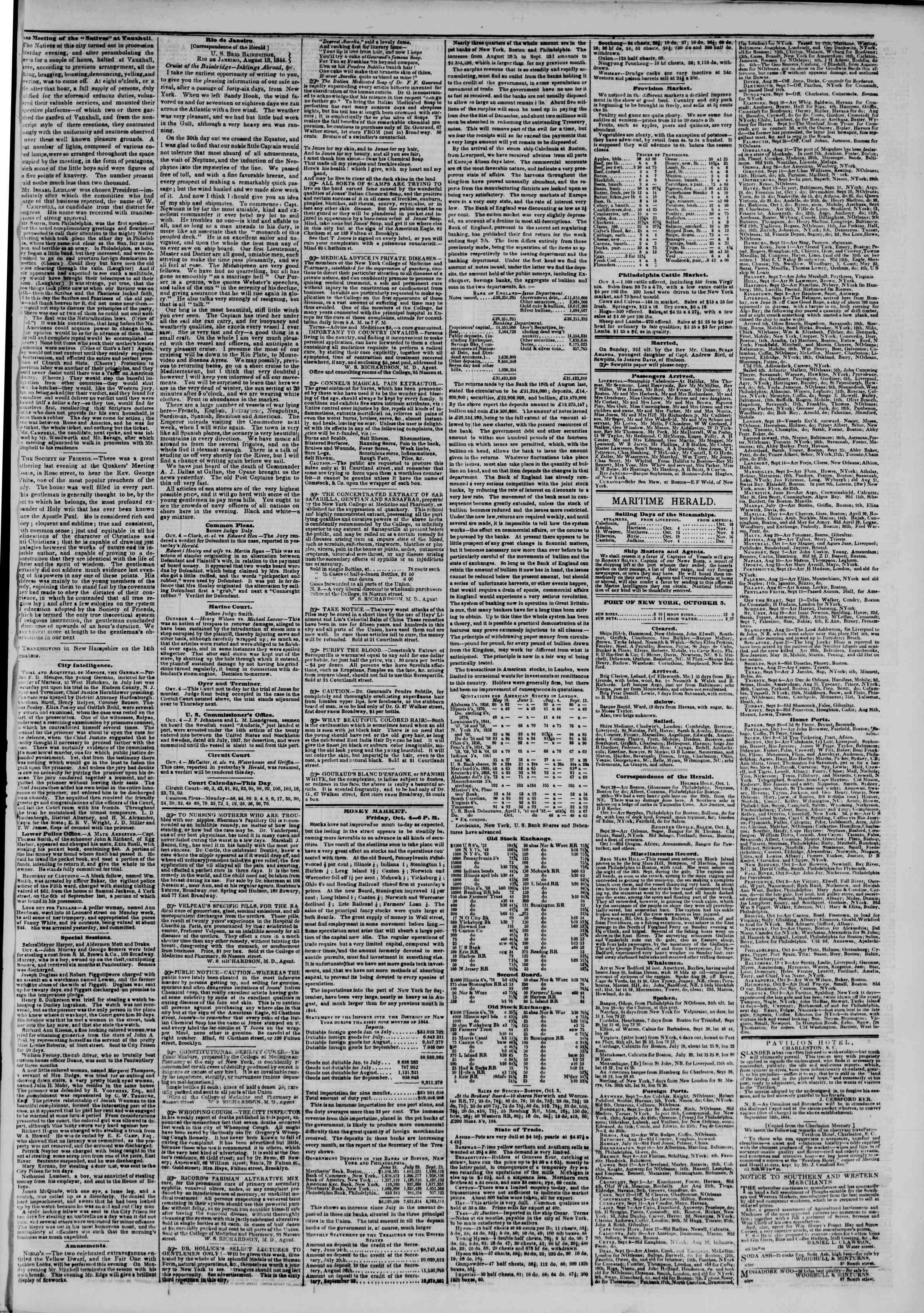 October 5, 1844 Tarihli The New York Herald Gazetesi Sayfa 3