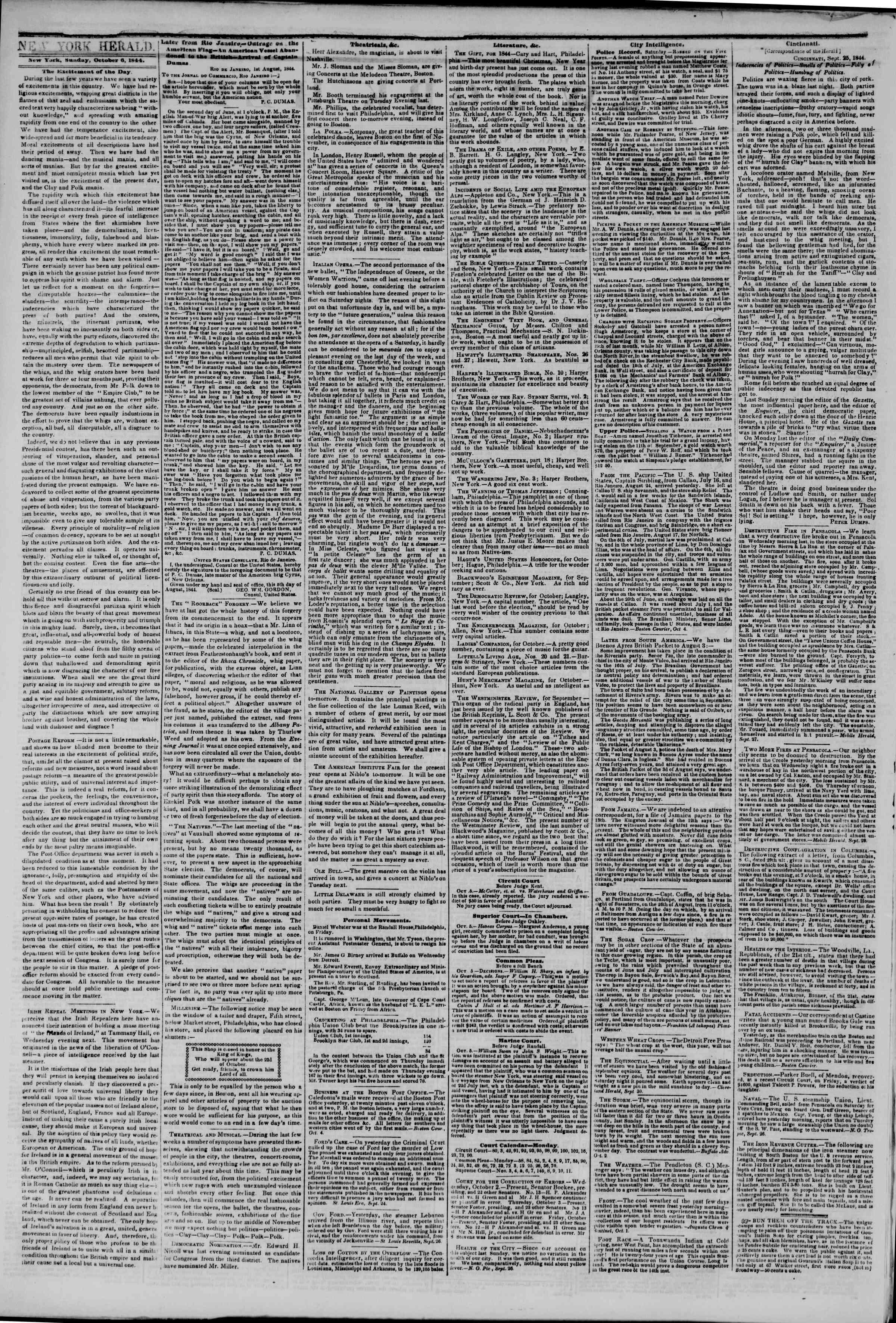 October 6, 1844 Tarihli The New York Herald Gazetesi Sayfa 2