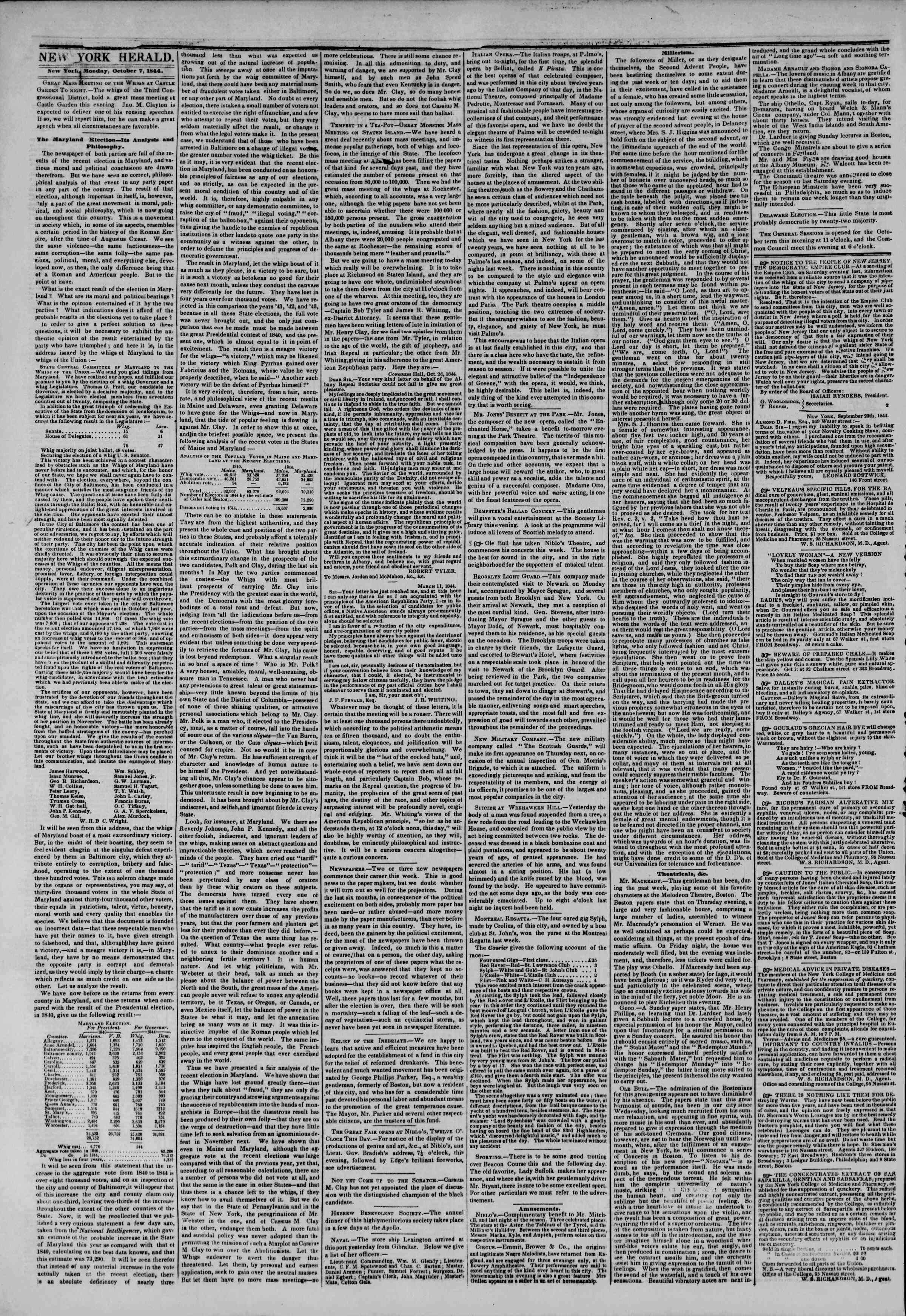 October 7, 1844 Tarihli The New York Herald Gazetesi Sayfa 3