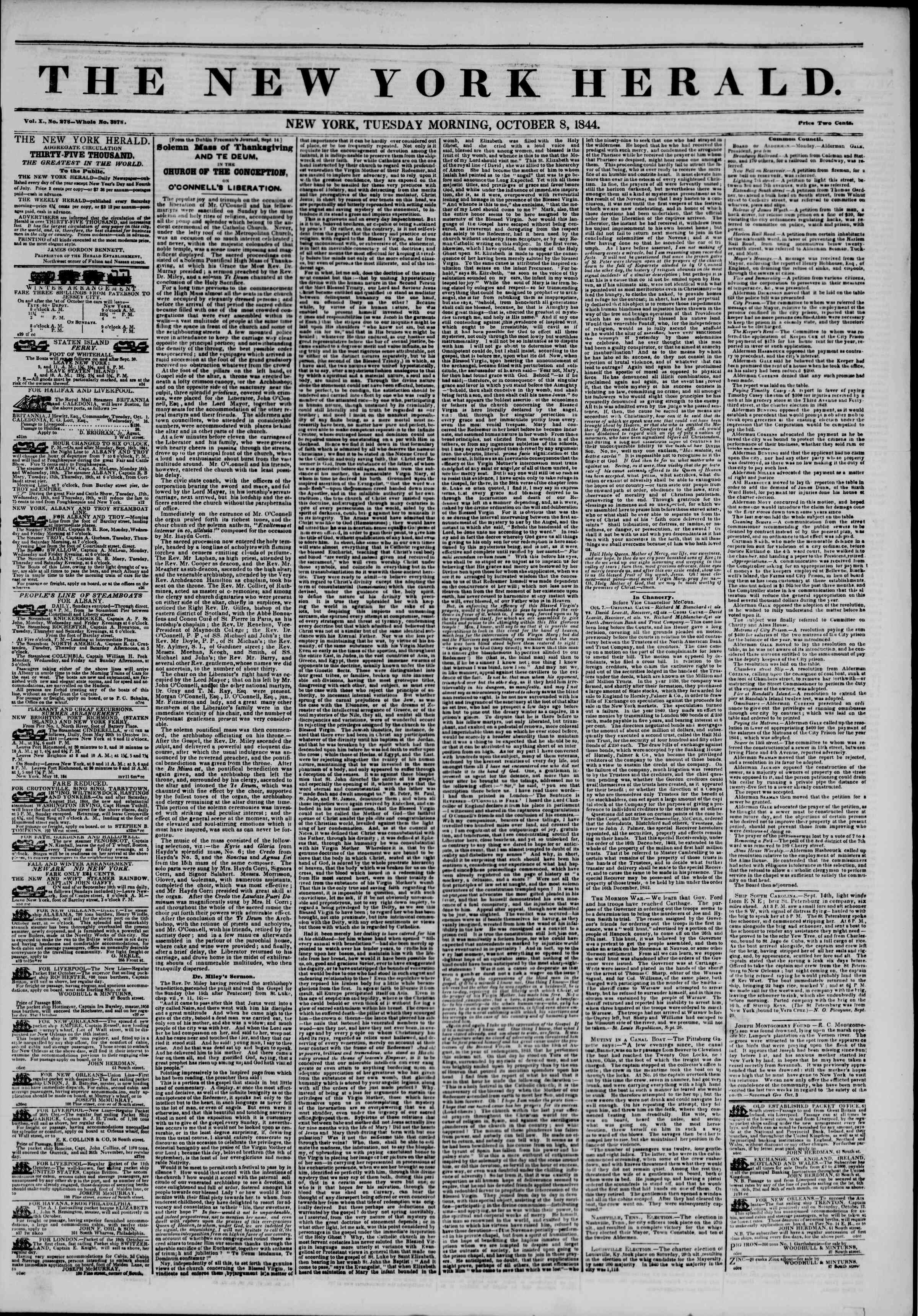 Newspaper of The New York Herald dated October 8, 1844 Page 1