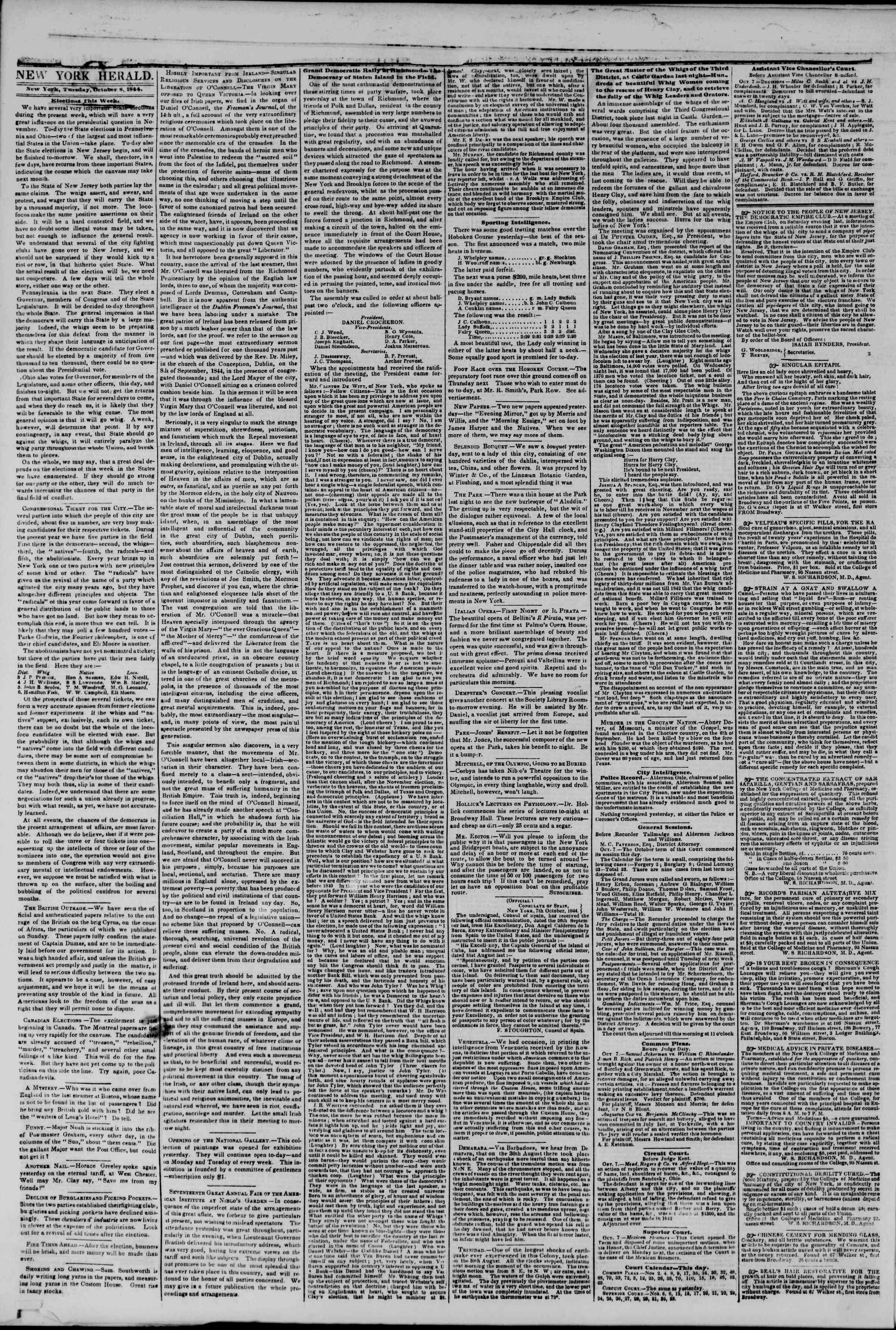 October 8, 1844 Tarihli The New York Herald Gazetesi Sayfa 2