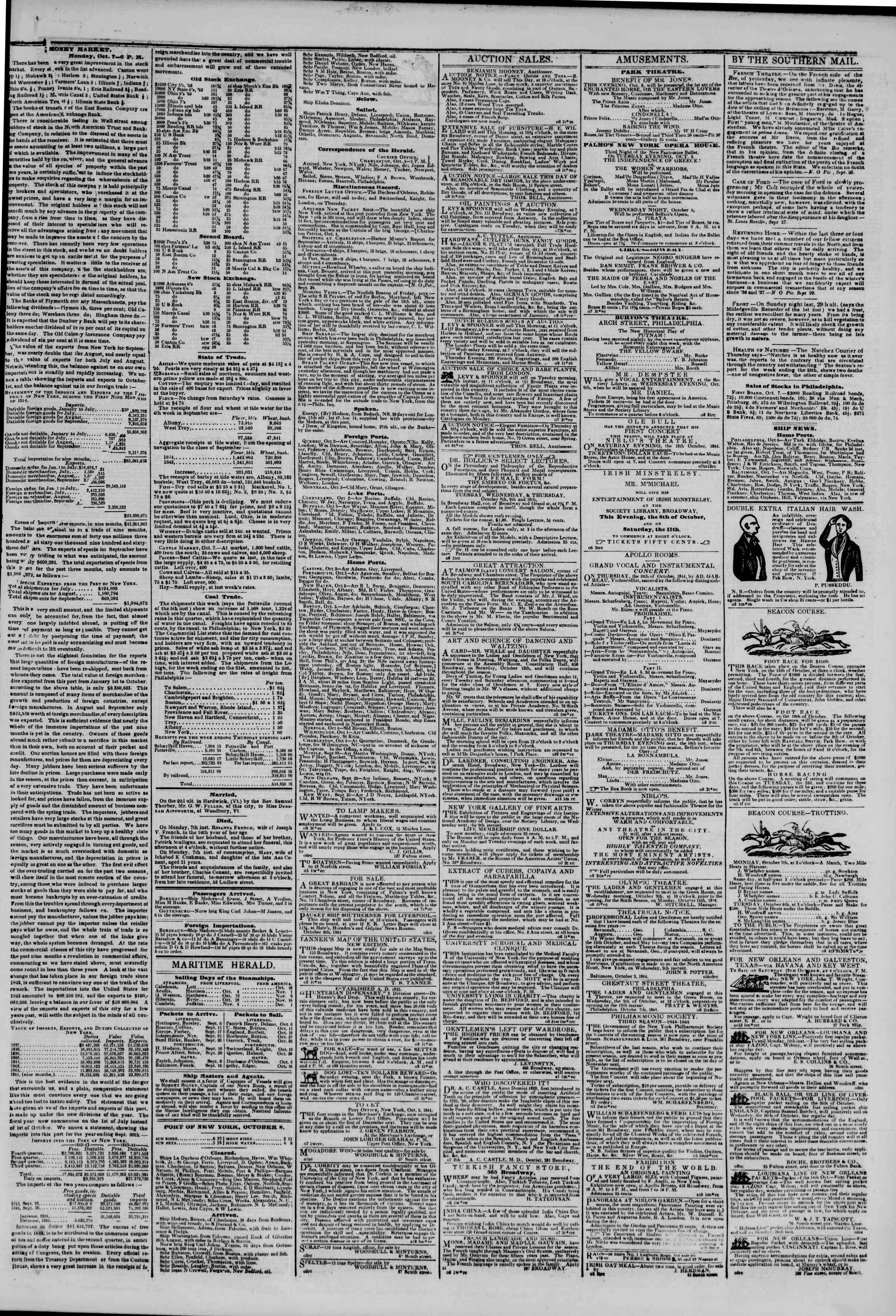 Newspaper of The New York Herald dated October 8, 1844 Page 3