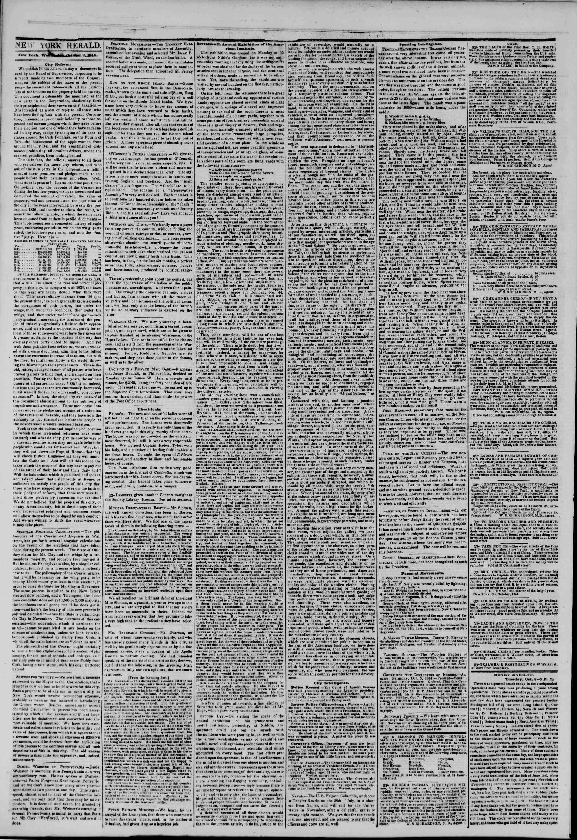 October 9, 1844 Tarihli The New York Herald Gazetesi Sayfa 2