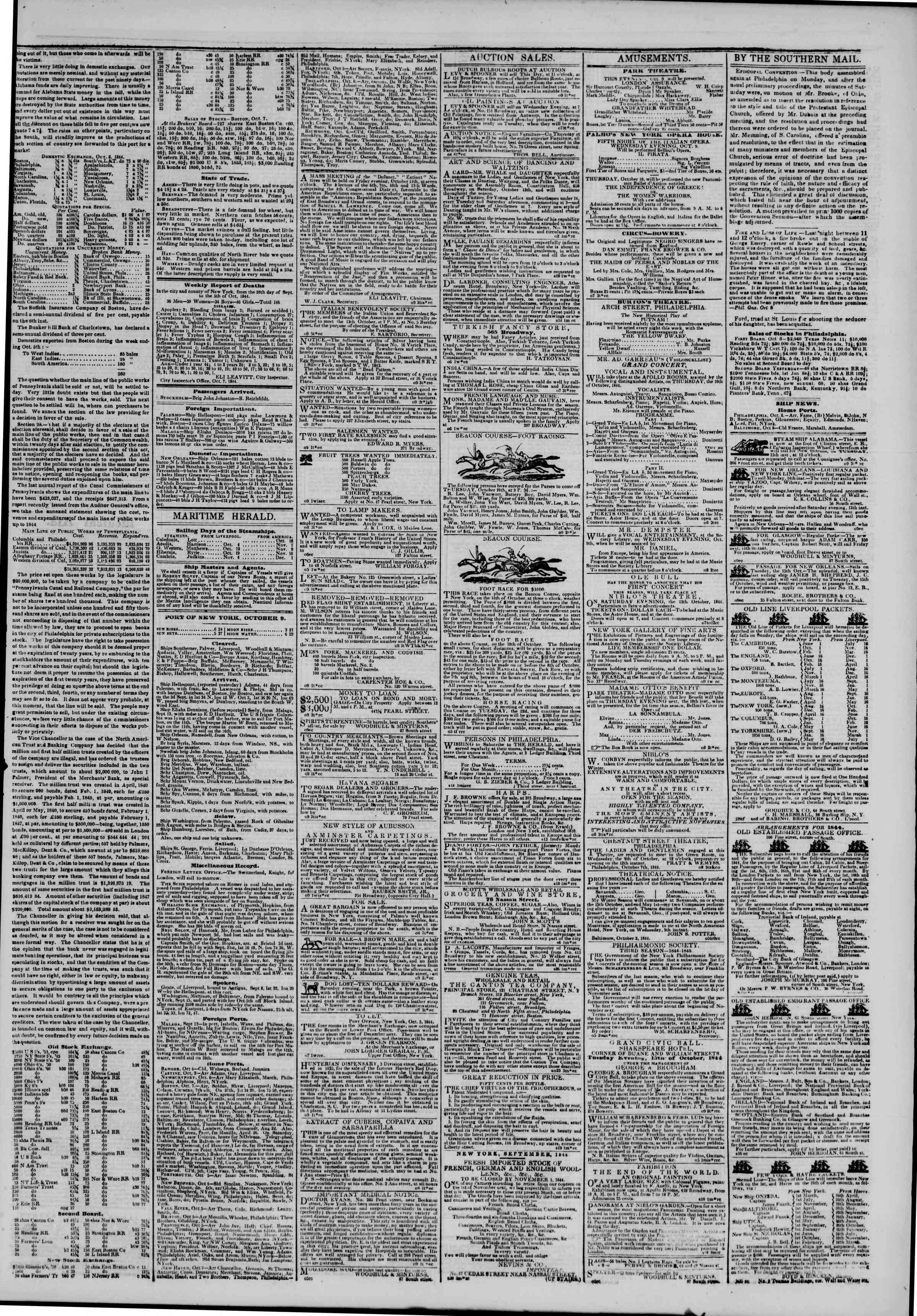 October 9, 1844 Tarihli The New York Herald Gazetesi Sayfa 3