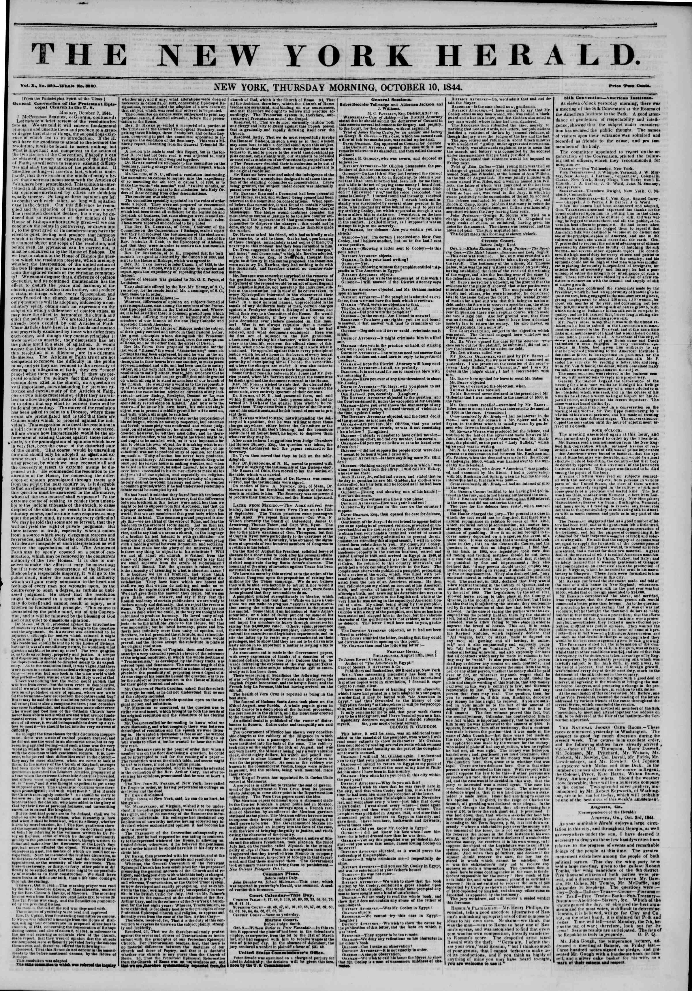 Newspaper of The New York Herald dated October 10, 1844 Page 1