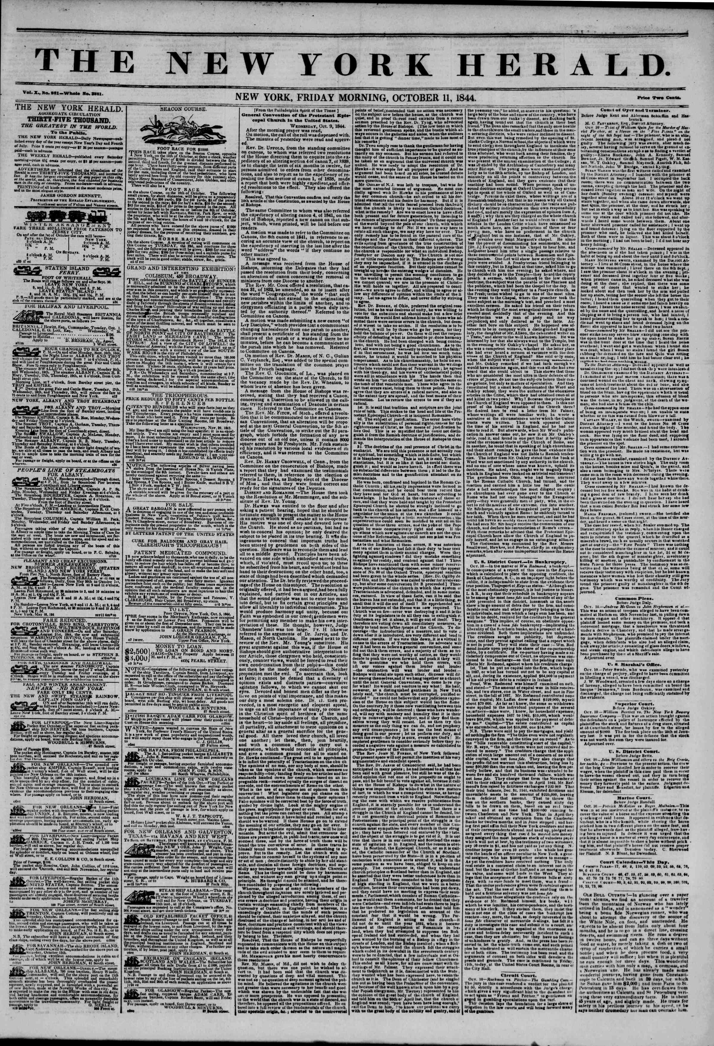 October 11, 1844 Tarihli The New York Herald Gazetesi Sayfa 1