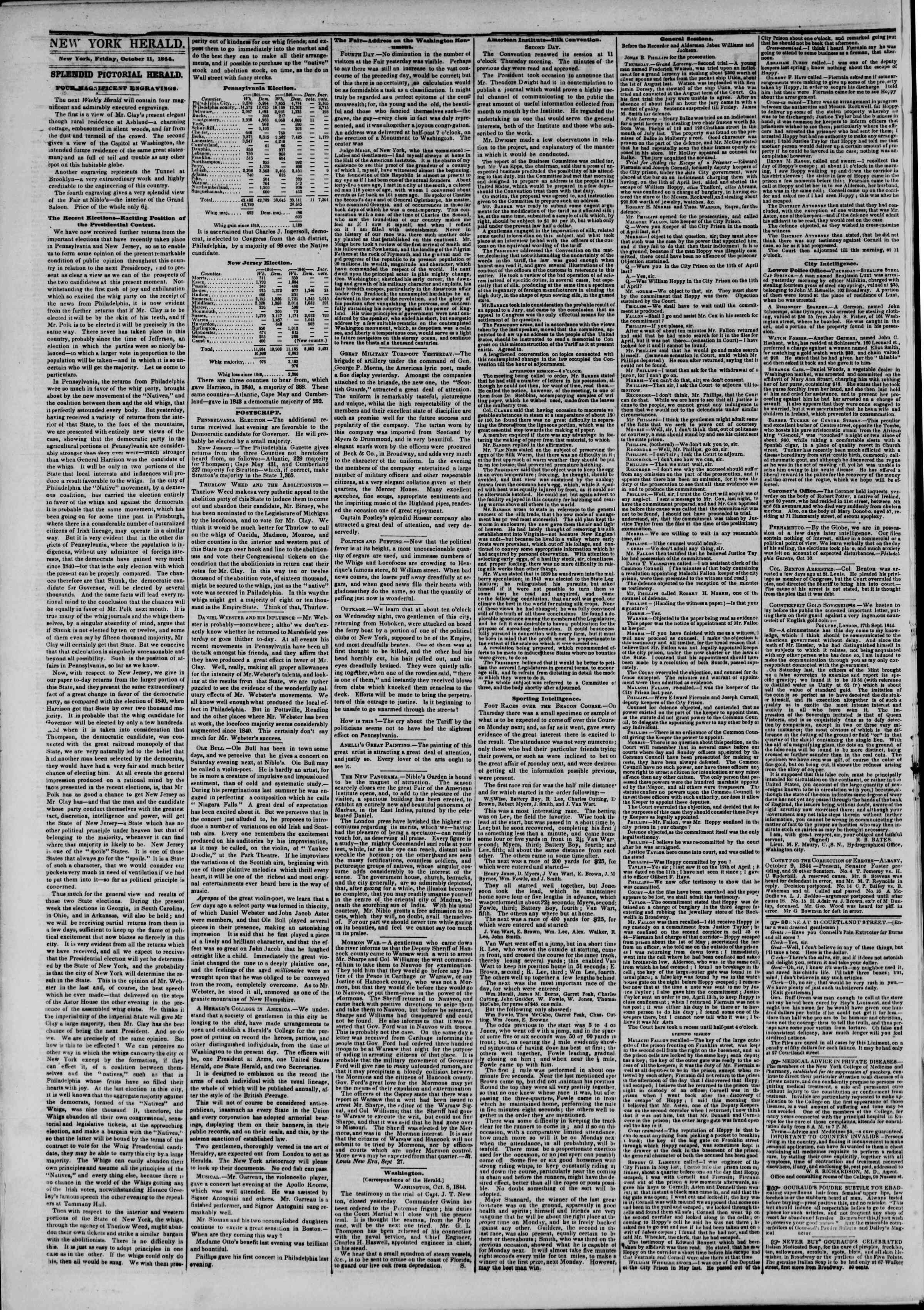 Newspaper of The New York Herald dated October 11, 1844 Page 2