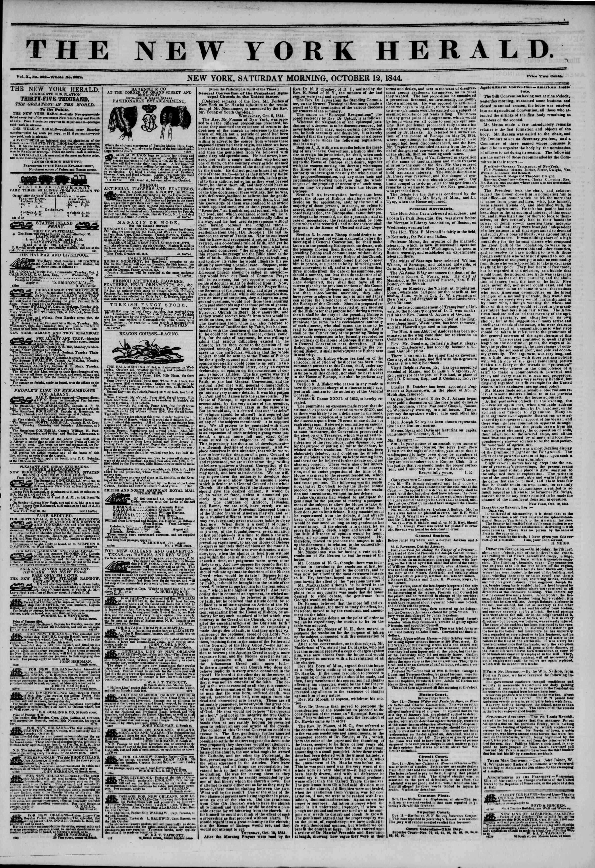 October 12, 1844 Tarihli The New York Herald Gazetesi Sayfa 1