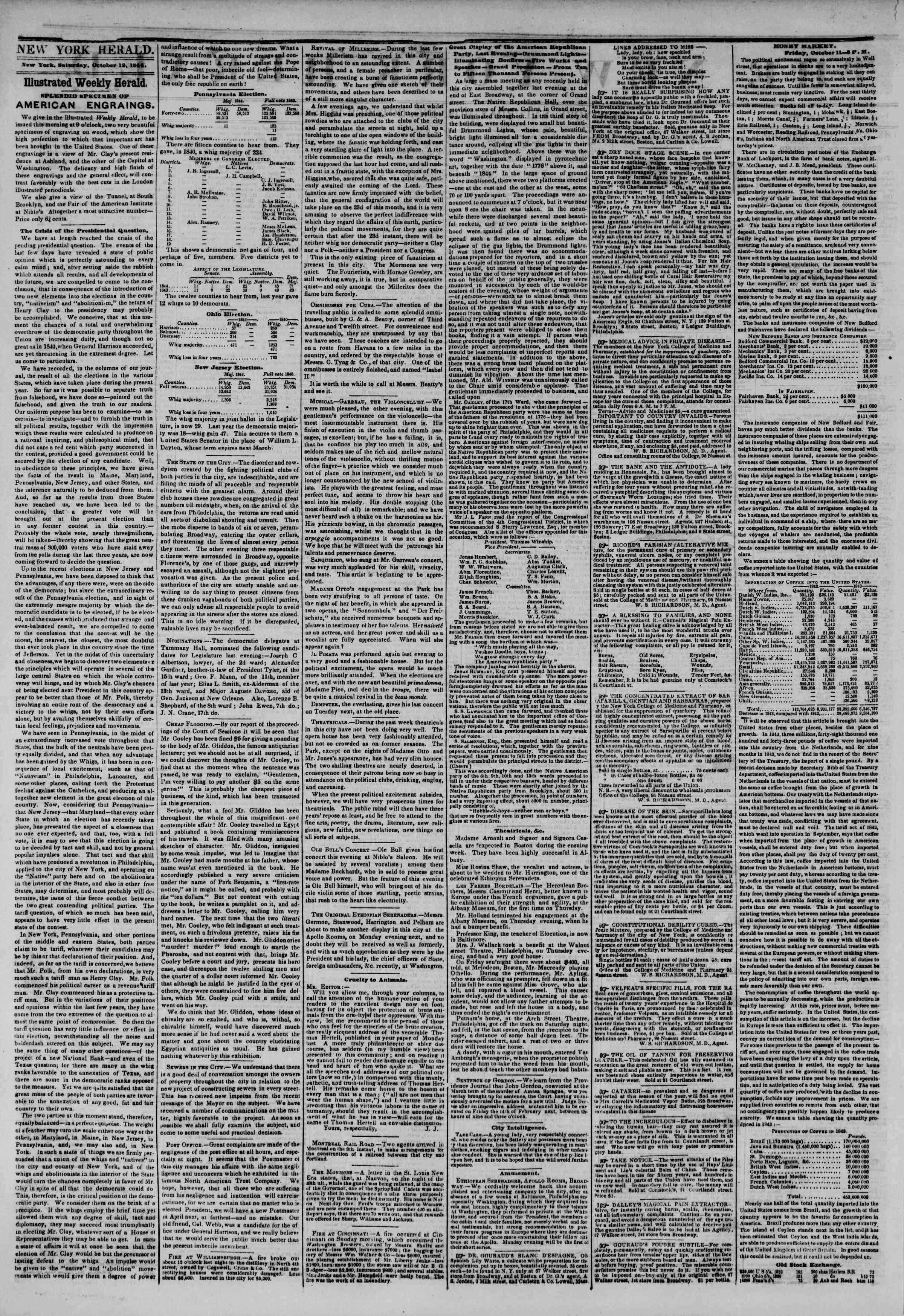 October 12, 1844 Tarihli The New York Herald Gazetesi Sayfa 2