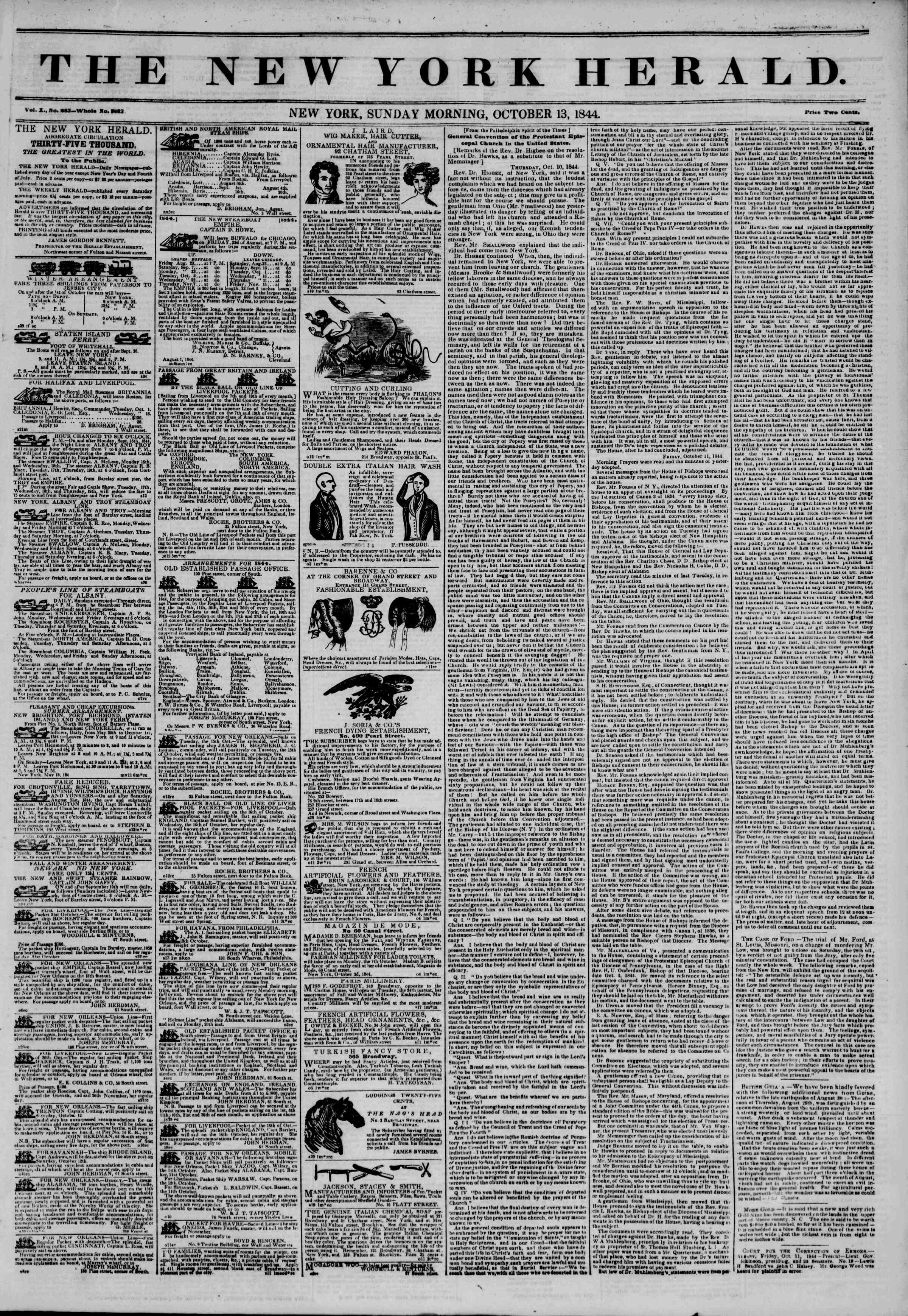 Newspaper of The New York Herald dated October 13, 1844 Page 1