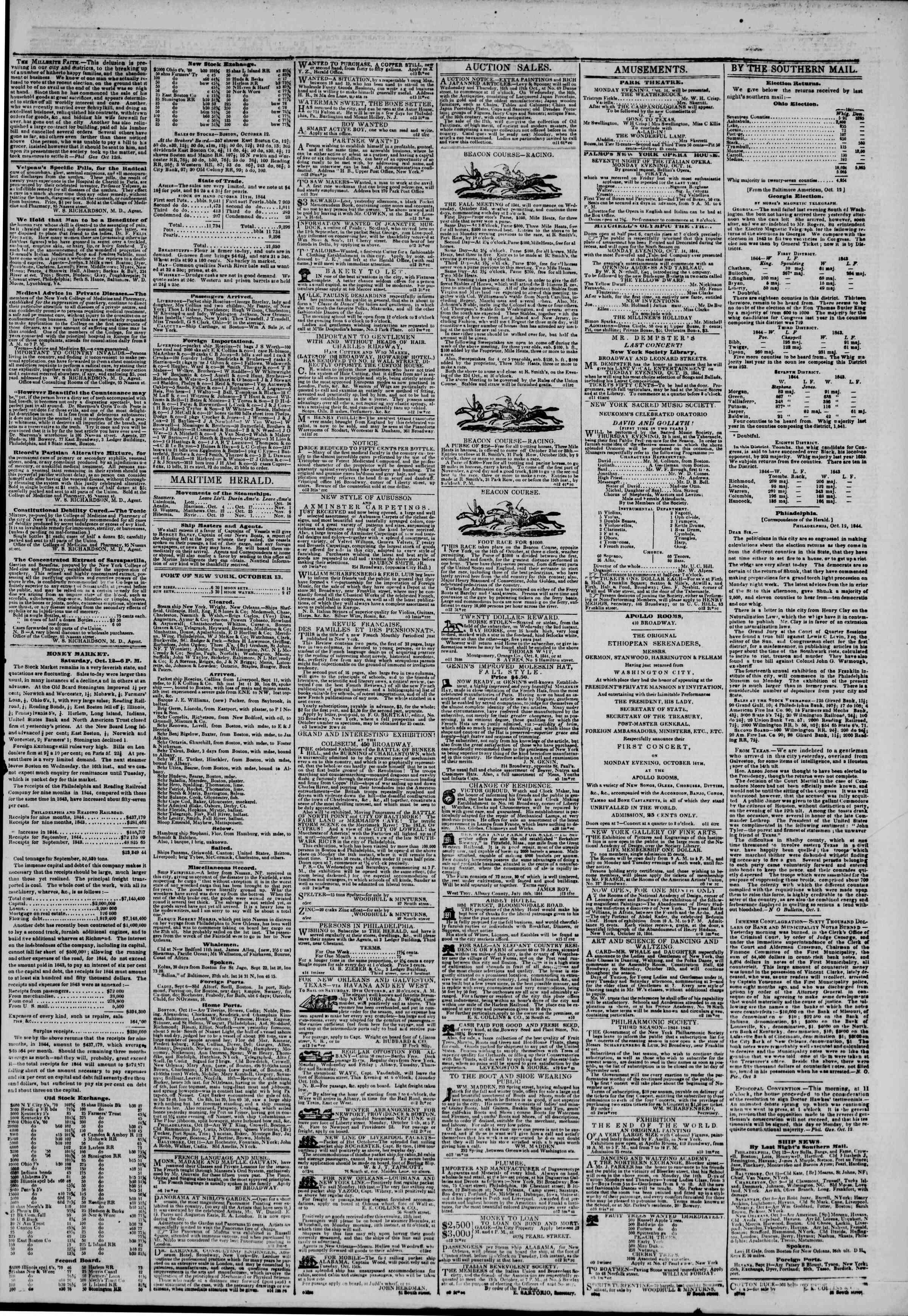 October 13, 1844 Tarihli The New York Herald Gazetesi Sayfa 3