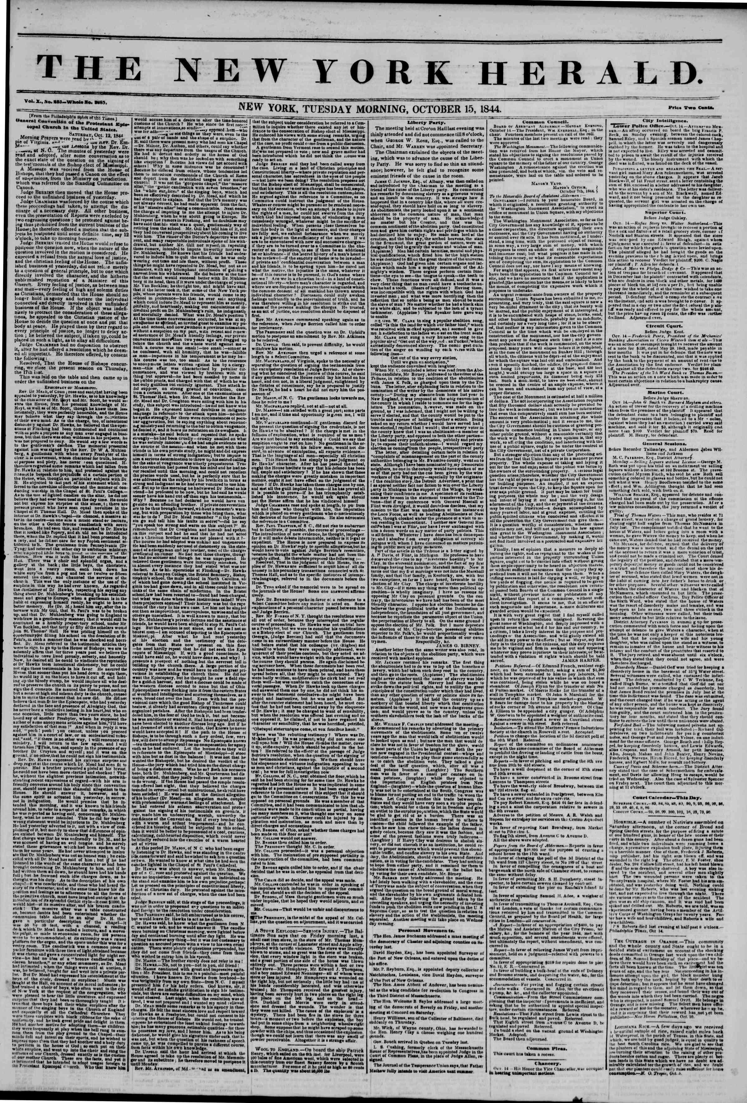 October 15, 1844 Tarihli The New York Herald Gazetesi Sayfa 1