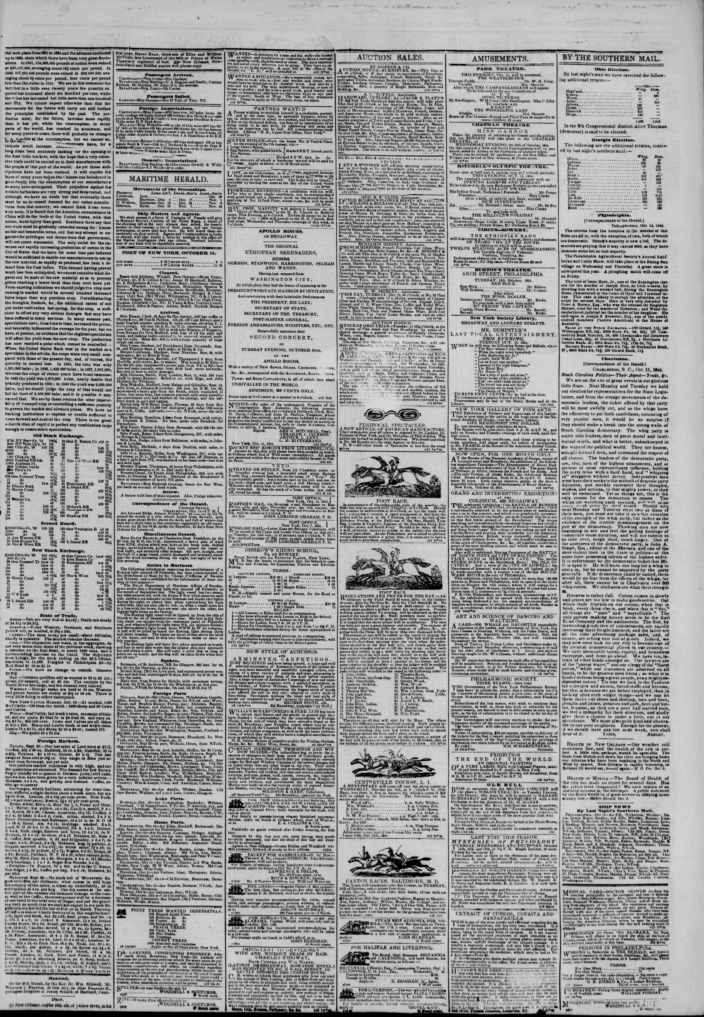 October 15, 1844 Tarihli The New York Herald Gazetesi Sayfa 3