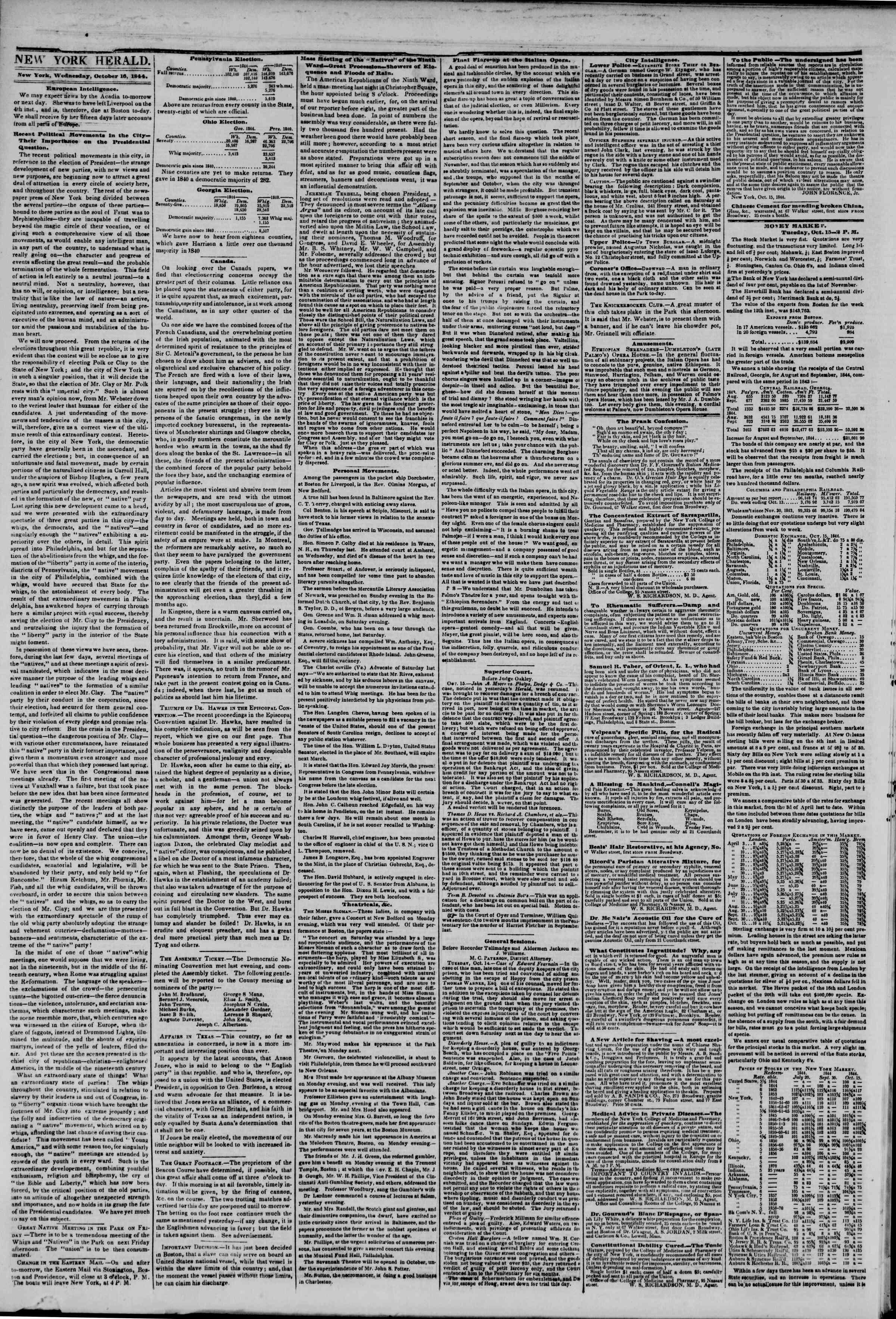 October 16, 1844 Tarihli The New York Herald Gazetesi Sayfa 2
