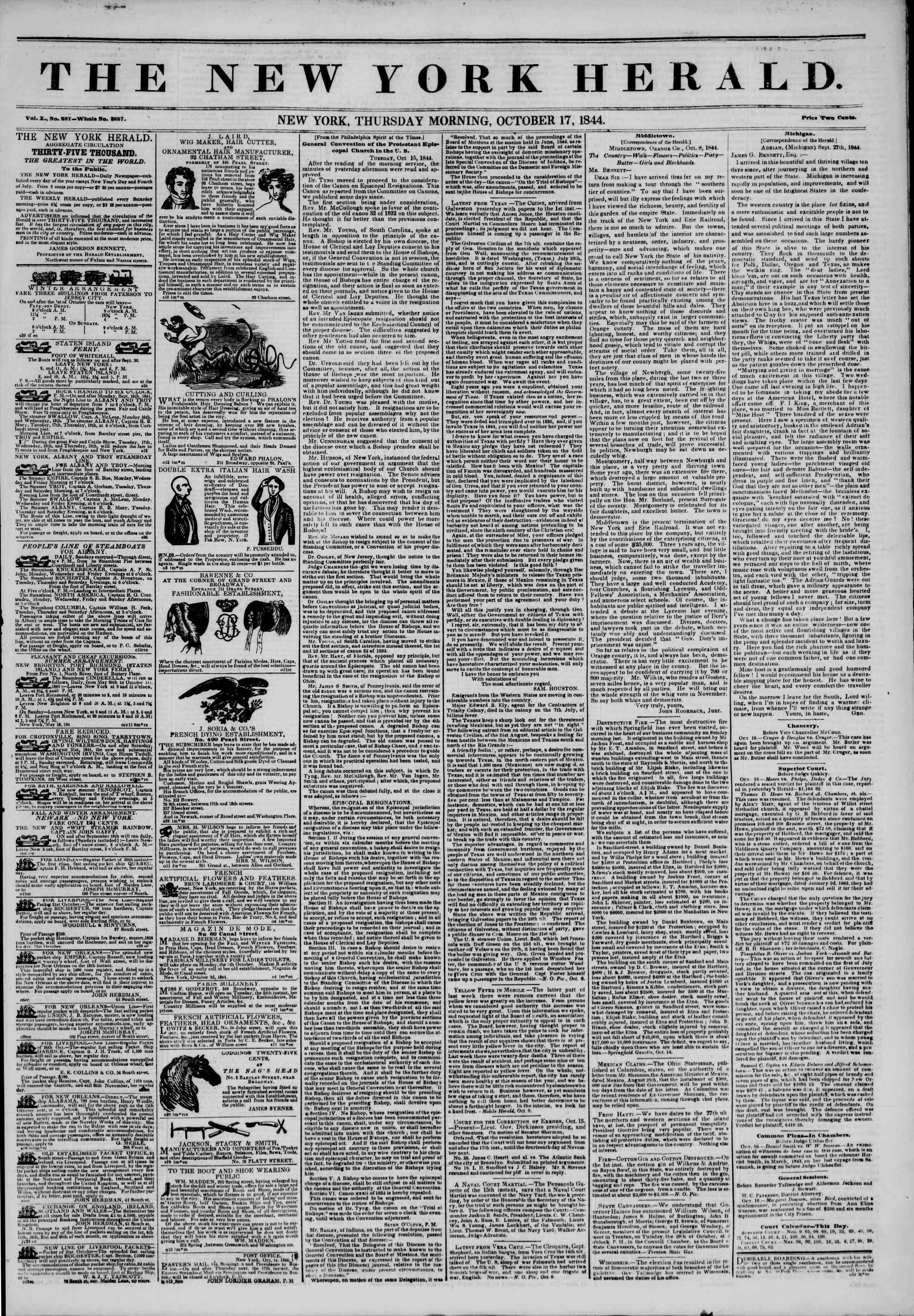 October 17, 1844 Tarihli The New York Herald Gazetesi Sayfa 1