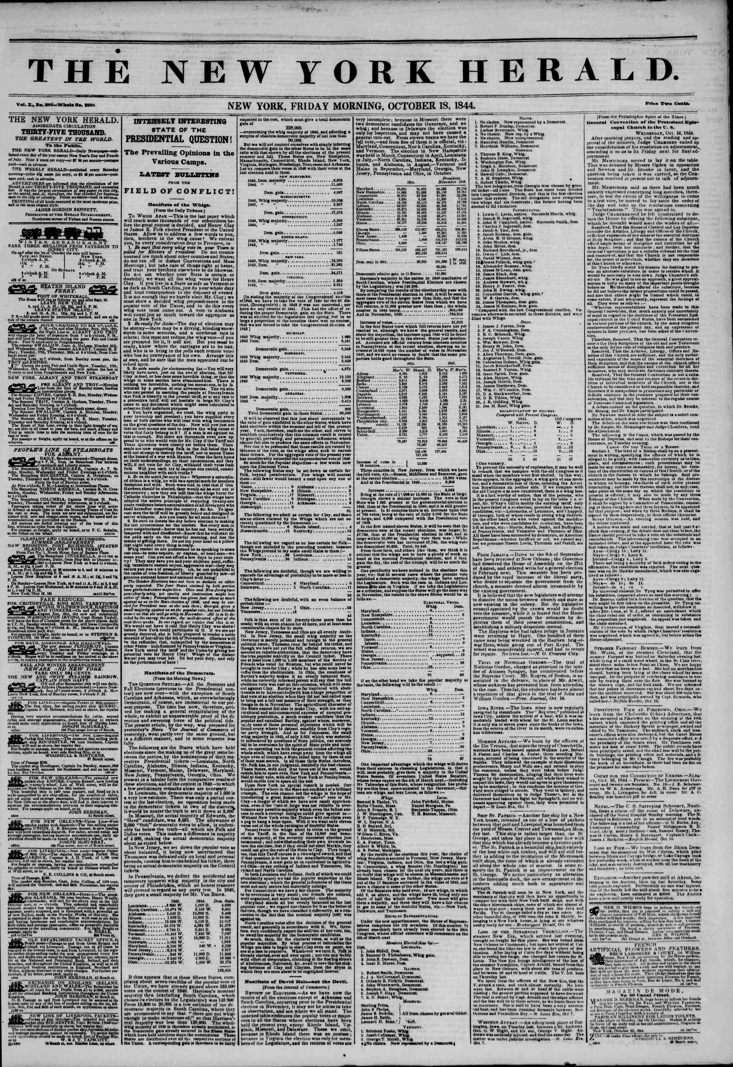 October 18, 1844 Tarihli The New York Herald Gazetesi Sayfa 1