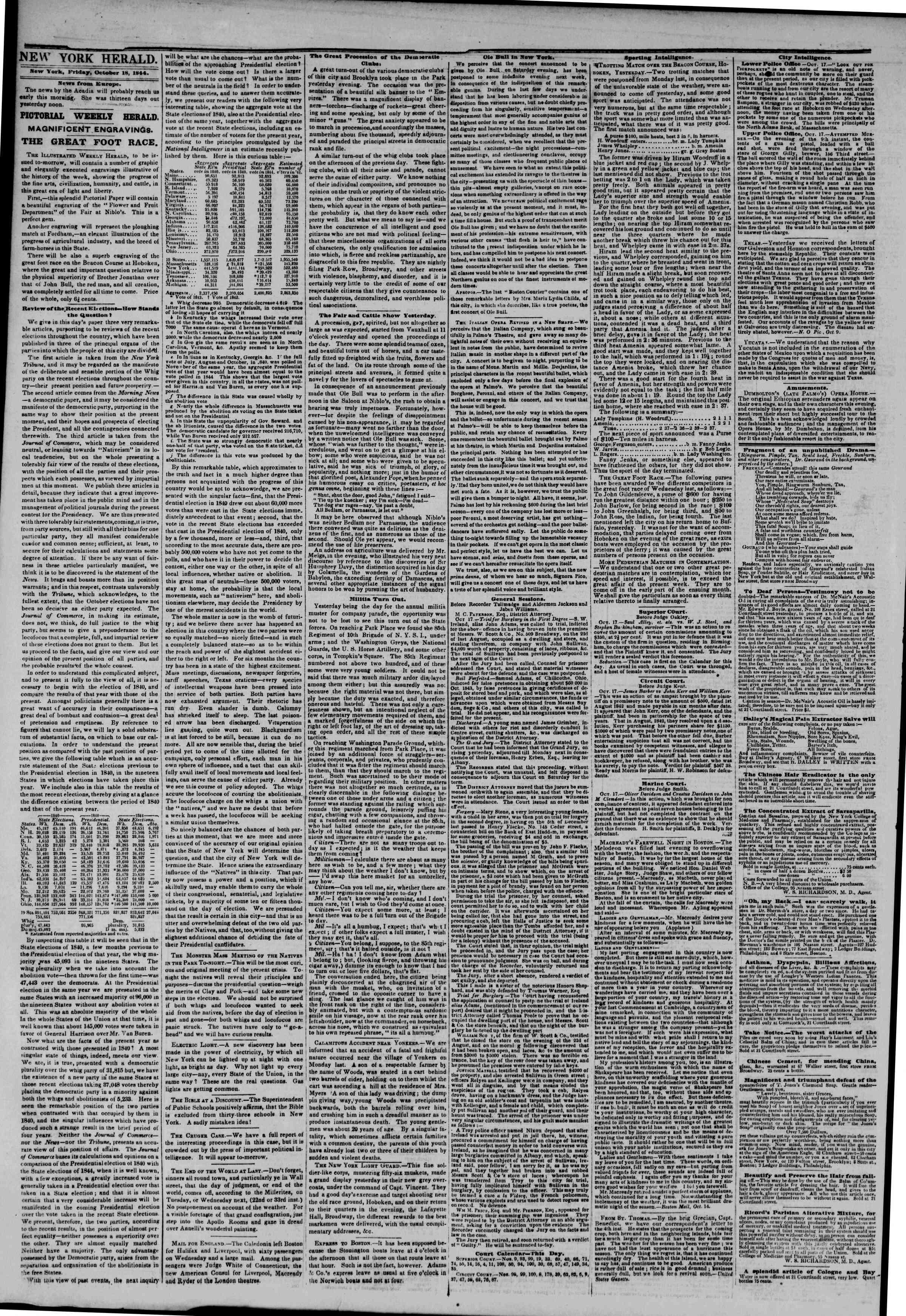 October 18, 1844 Tarihli The New York Herald Gazetesi Sayfa 2