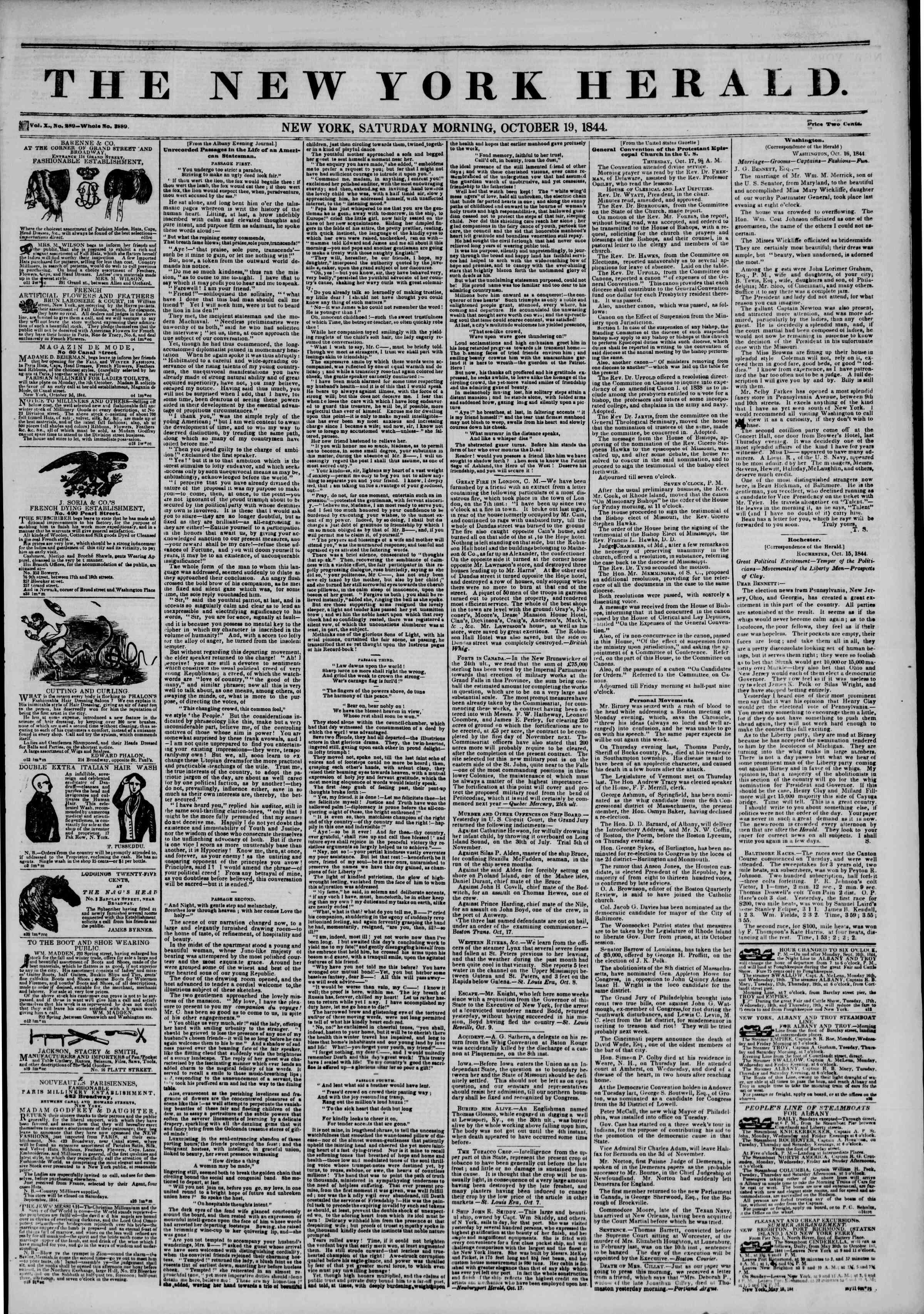 19 Ekim 1844 Tarihli The New York Herald Gazetesi Sayfa 1