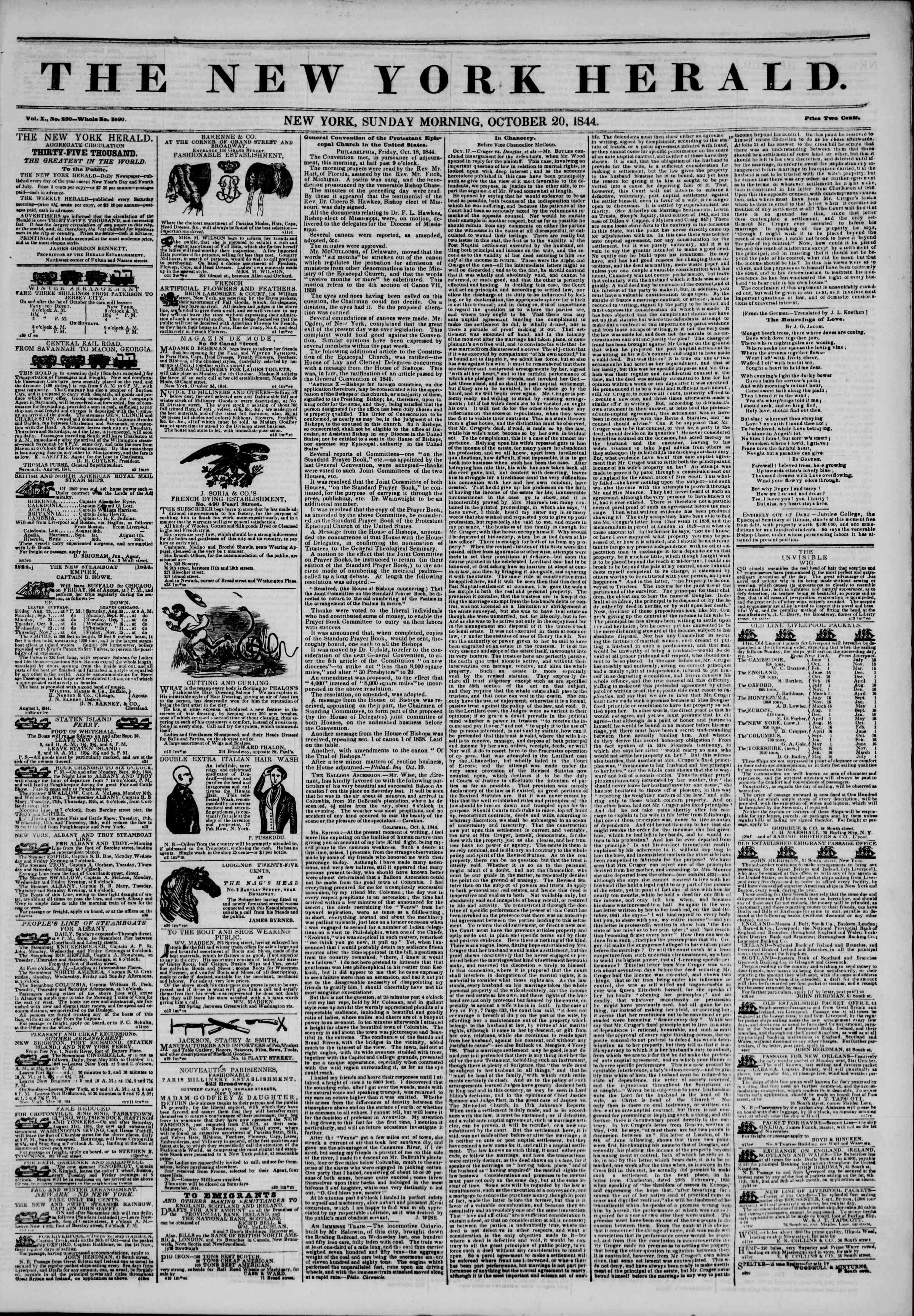 Newspaper of The New York Herald dated October 20, 1844 Page 1