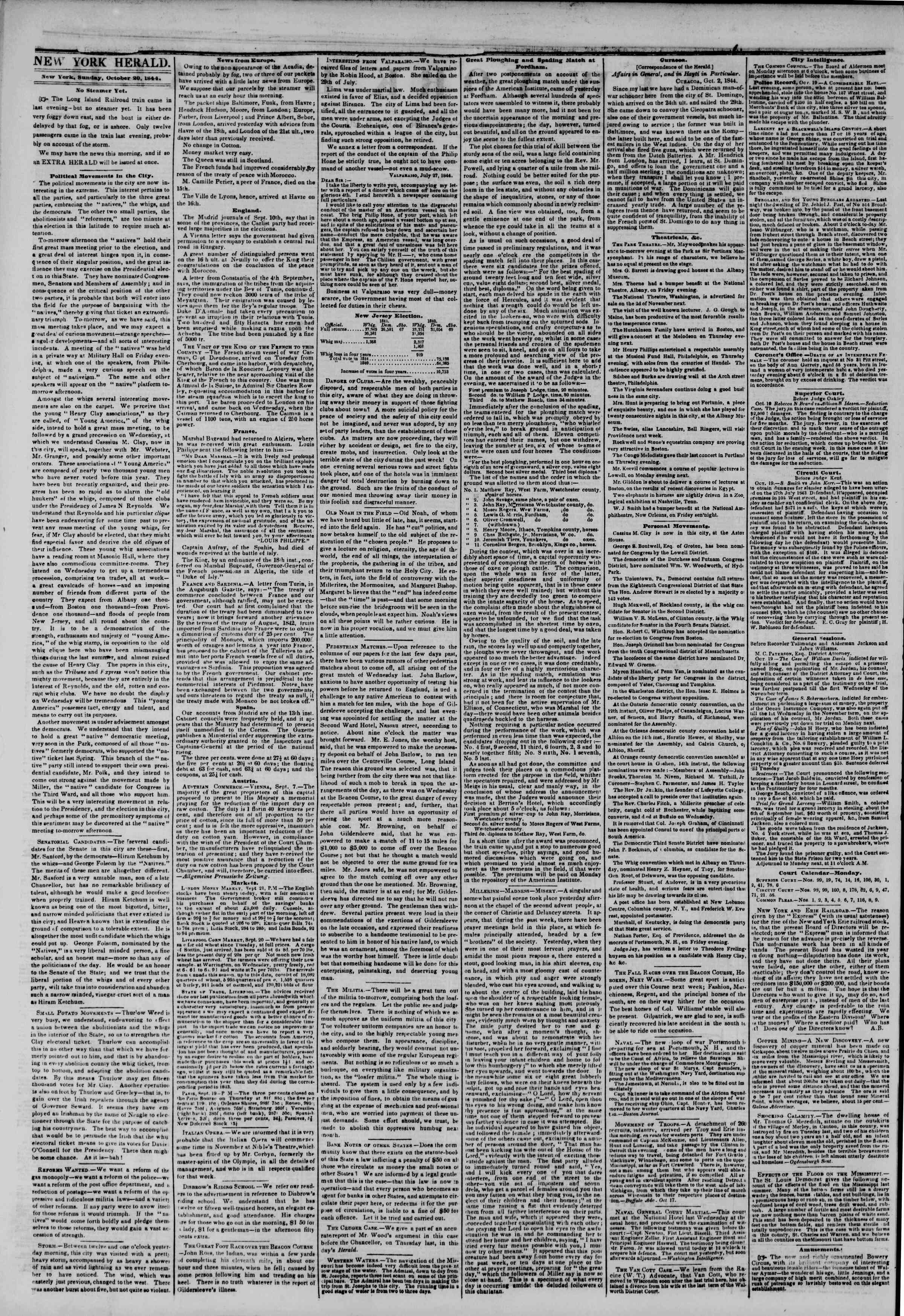 Newspaper of The New York Herald dated October 20, 1844 Page 2