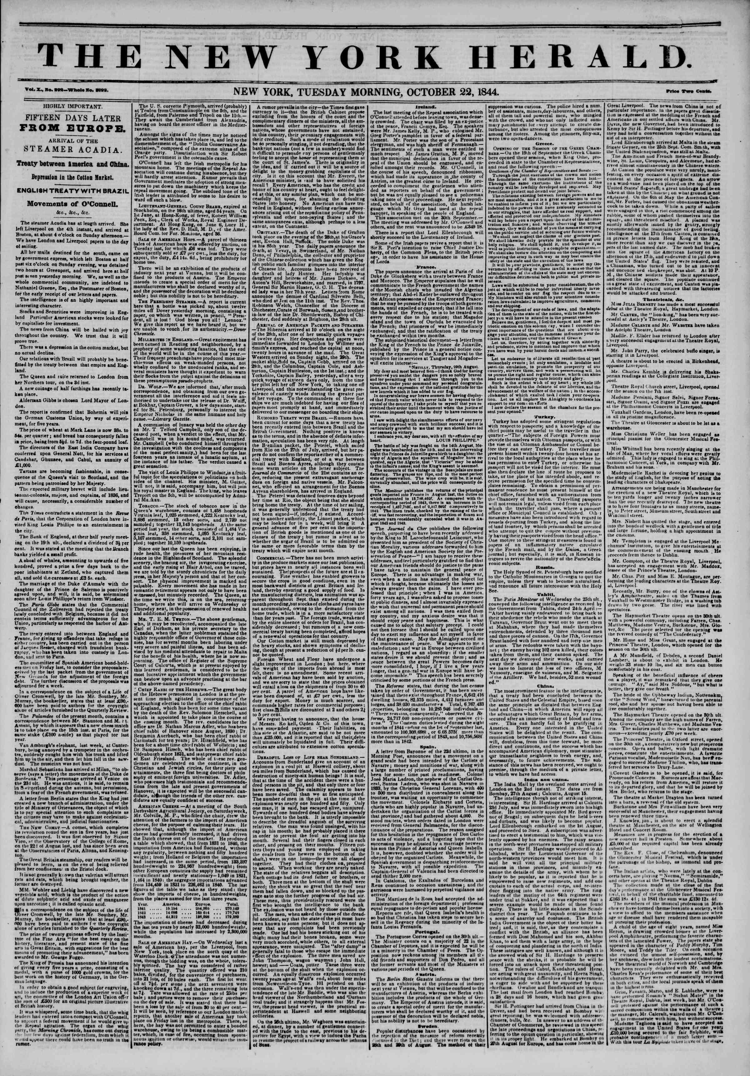 October 22, 1844 Tarihli The New York Herald Gazetesi Sayfa 1