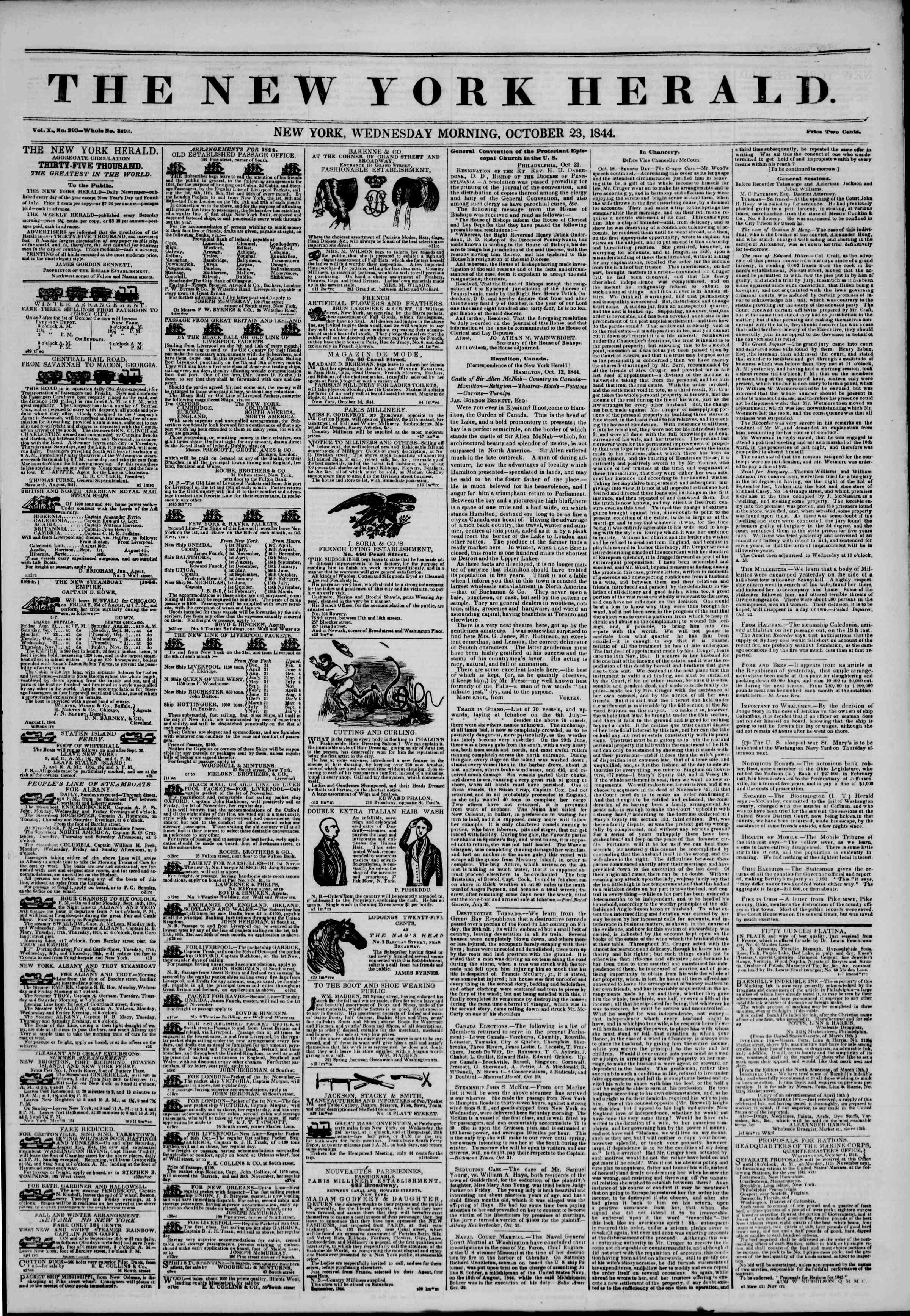 23 Ekim 1844 Tarihli The New York Herald Gazetesi Sayfa 1
