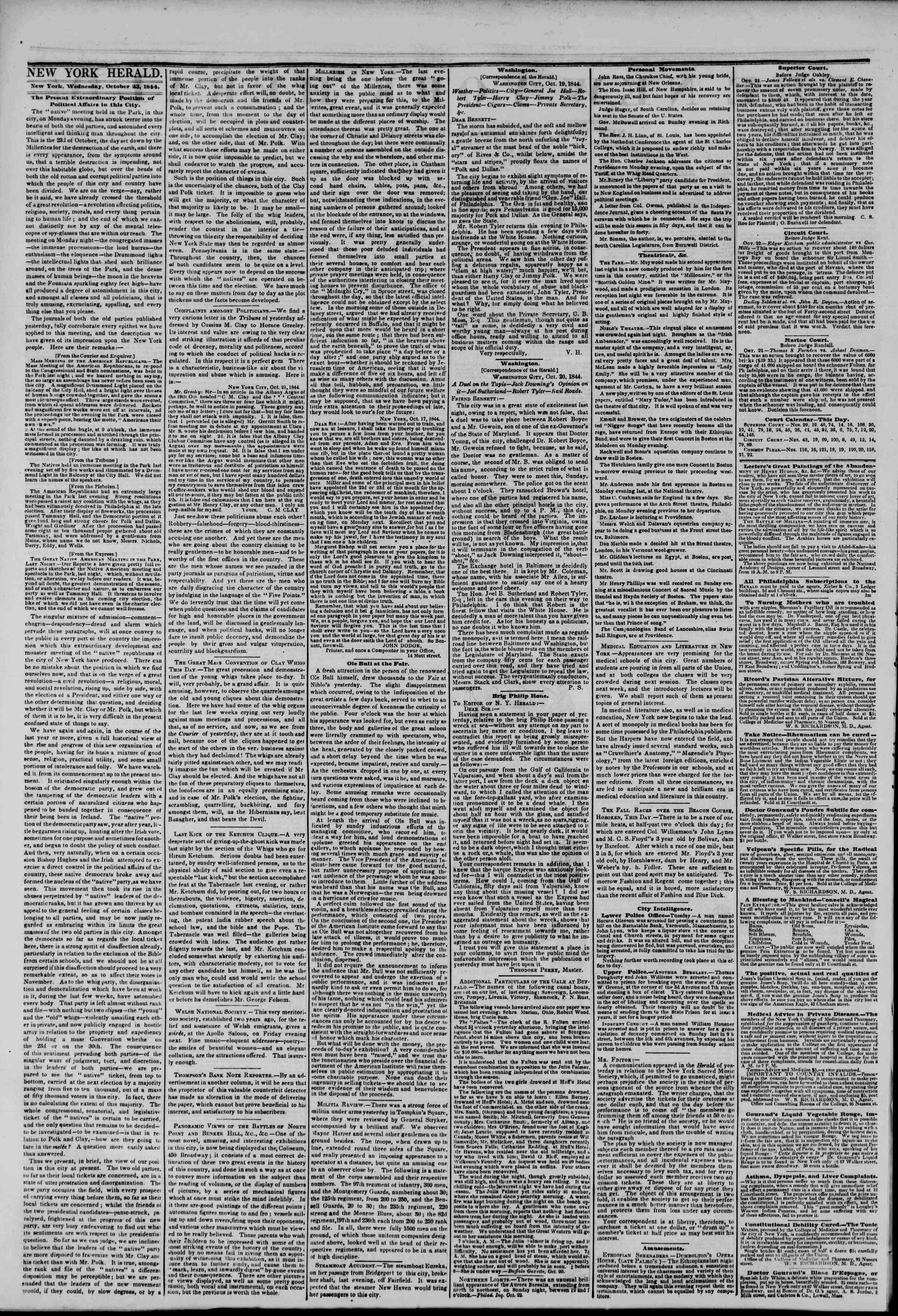 October 23, 1844 Tarihli The New York Herald Gazetesi Sayfa 2